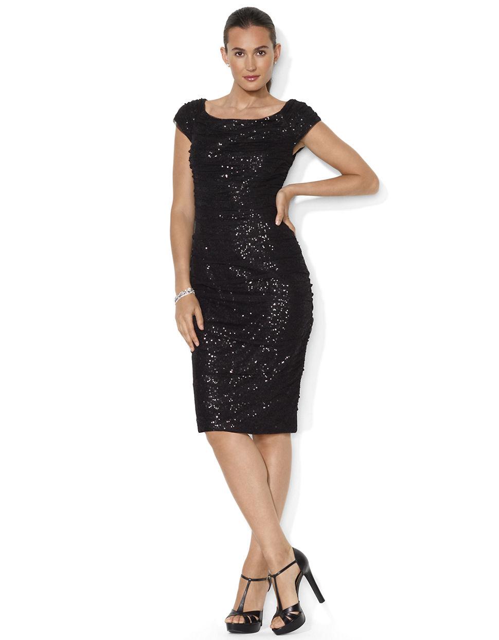 Lauren by ralph lauren Open Neck Sequin Dress in Black | Lyst