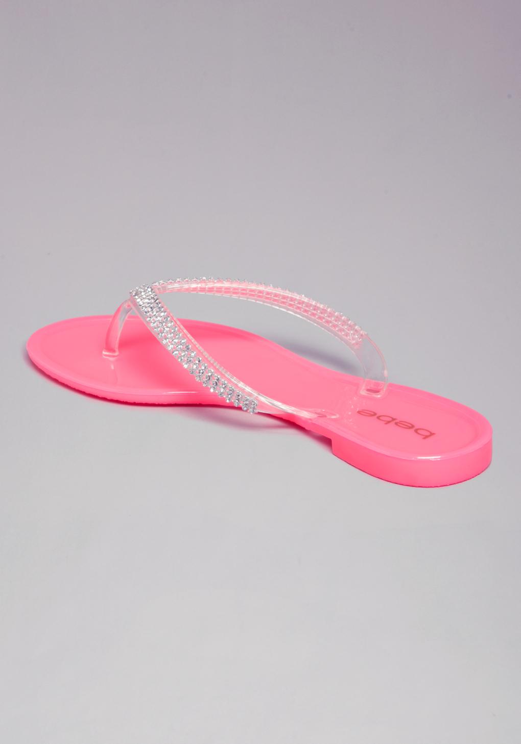 Bebe Audriella Jelly Flip Flops In Pink Lyst