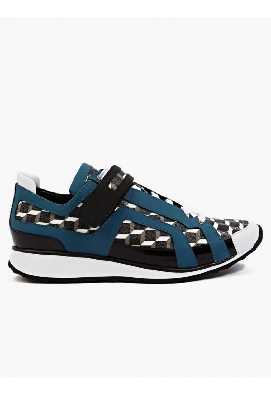 pierre hardy men 39 s black perspective cube print sneakers in blue for men black lyst. Black Bedroom Furniture Sets. Home Design Ideas