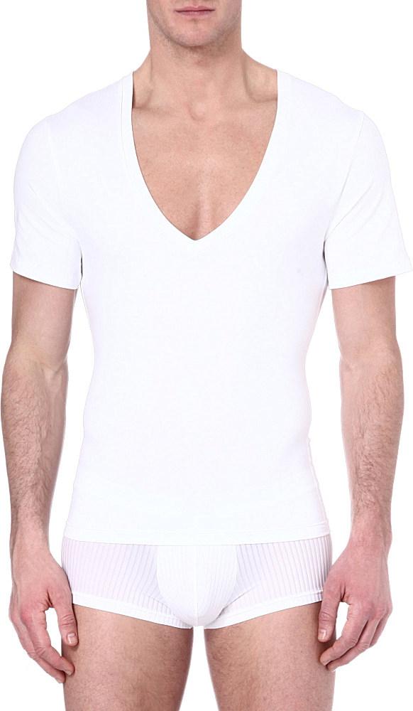 Spanx deep v neck t shirt in white for men lyst for V neck white t shirts for men