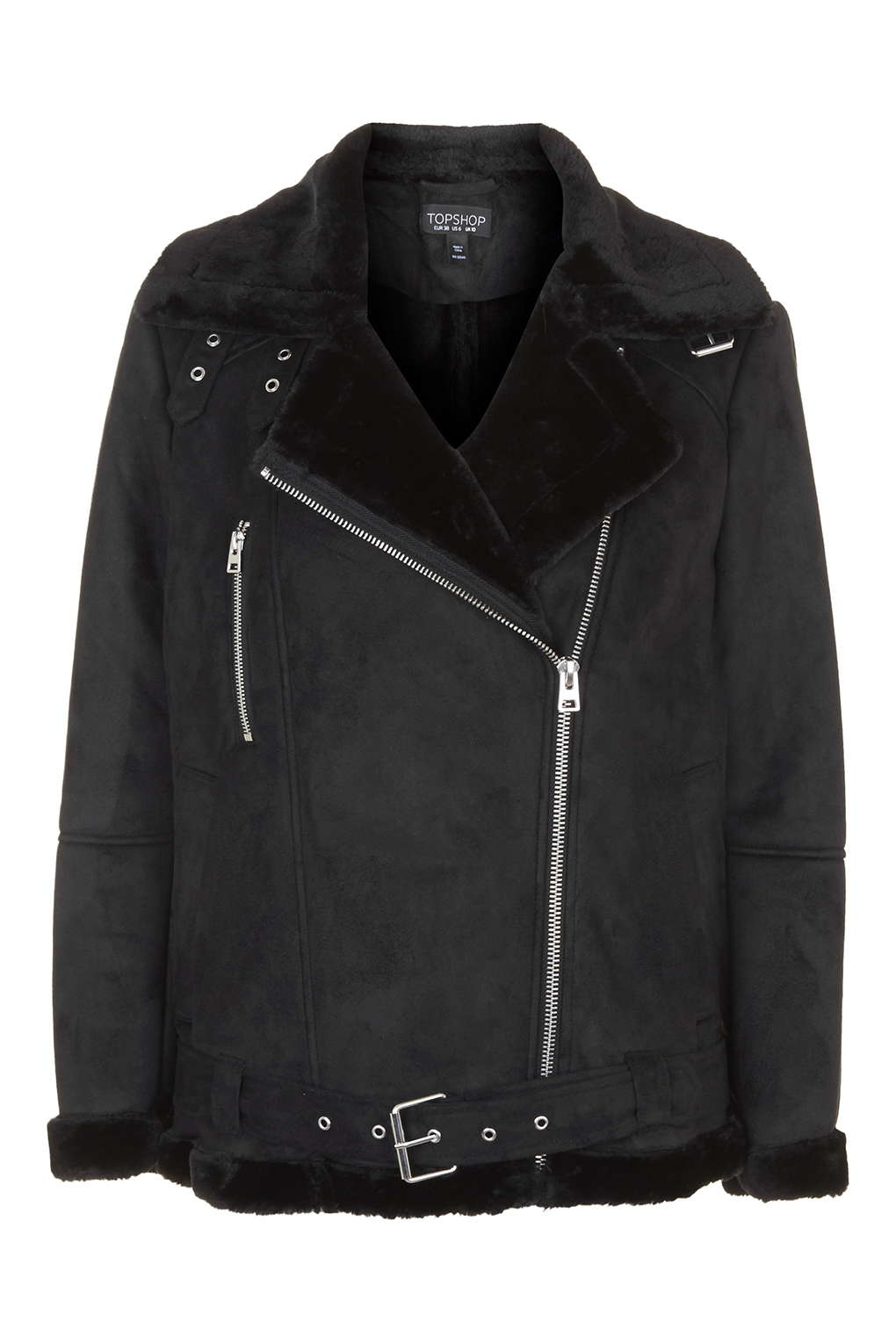 Topshop tall leather jacket