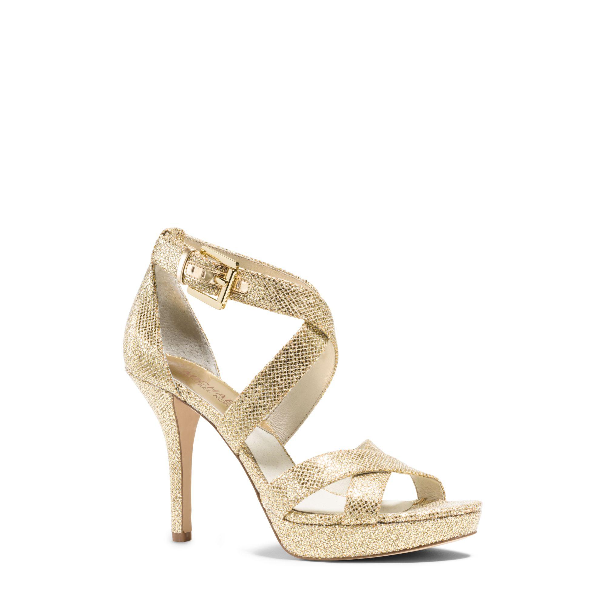 dda48224f91 Lyst - Michael Kors Evie Glitter Platform Sandal in Metallic