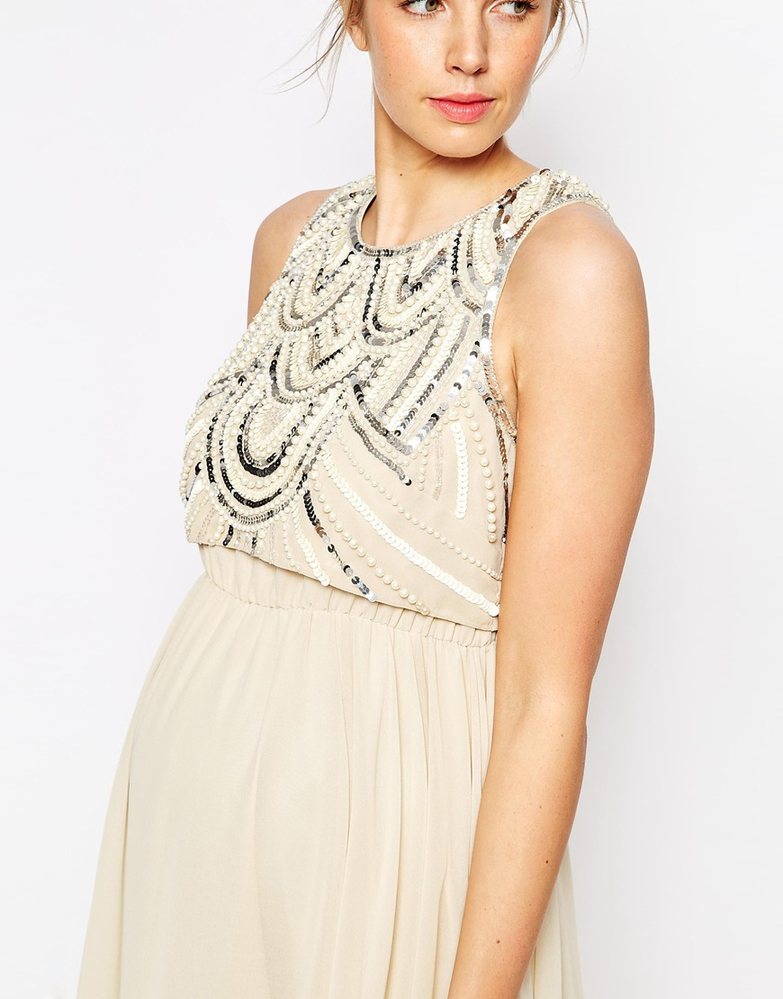 59e2639c7eb2b ASOS Midi Dress With Embellished Top in Natural - Lyst