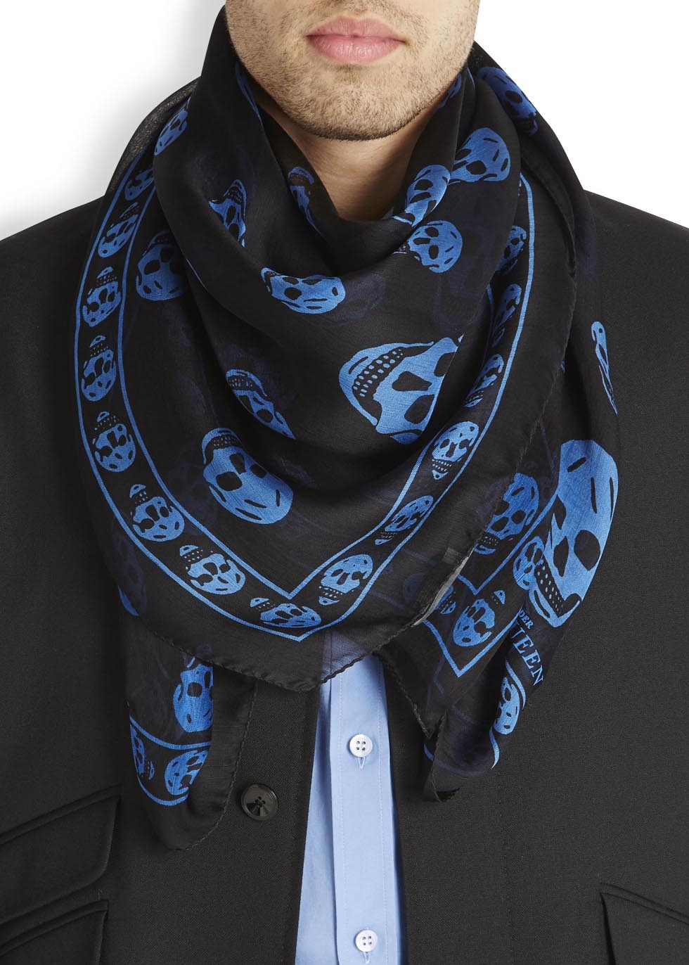 Alexander mcqueen Black And Blue Skull Silk Scarf in Black for Men ...