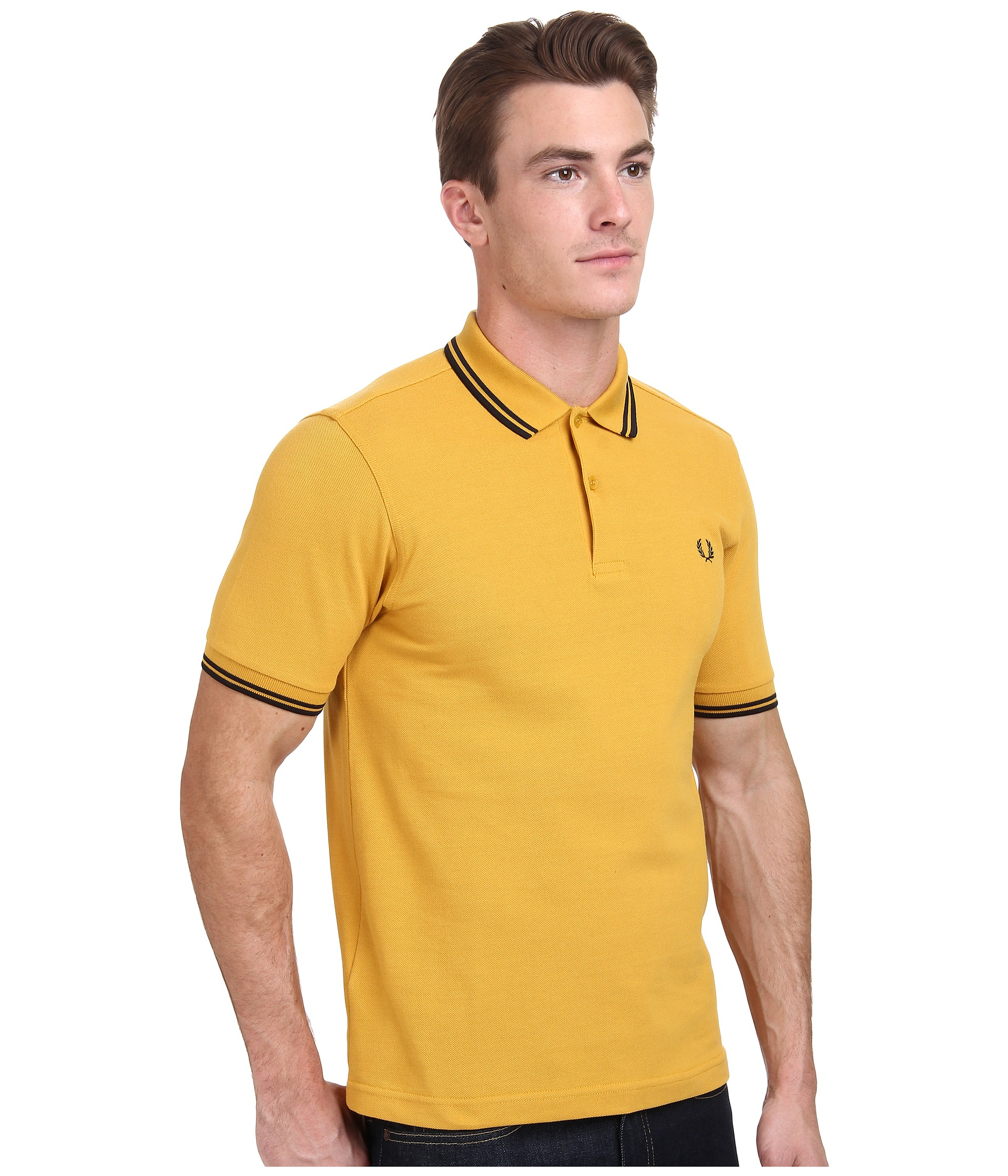 b3ef0d6a7 Fred Perry Slim Fit Twin Tipped Polo in Yellow for Men - Lyst