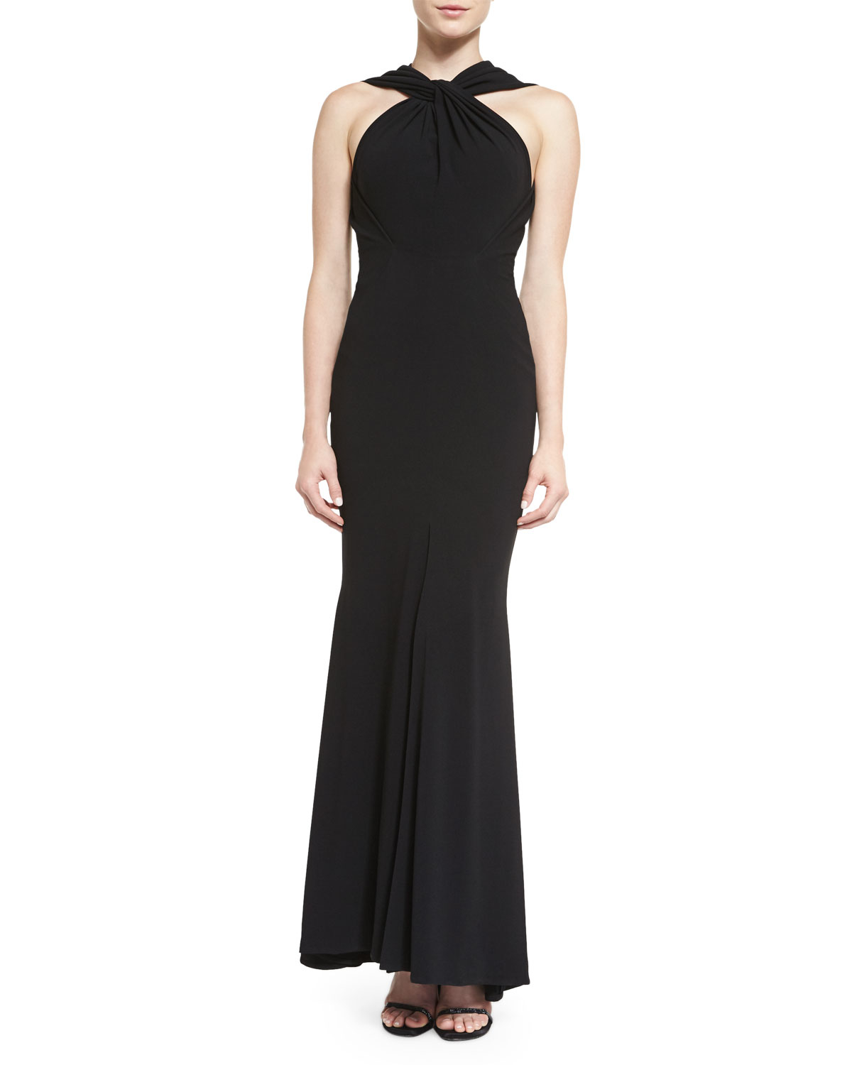 talbot runhof golatta v neck gown in black lyst. Black Bedroom Furniture Sets. Home Design Ideas