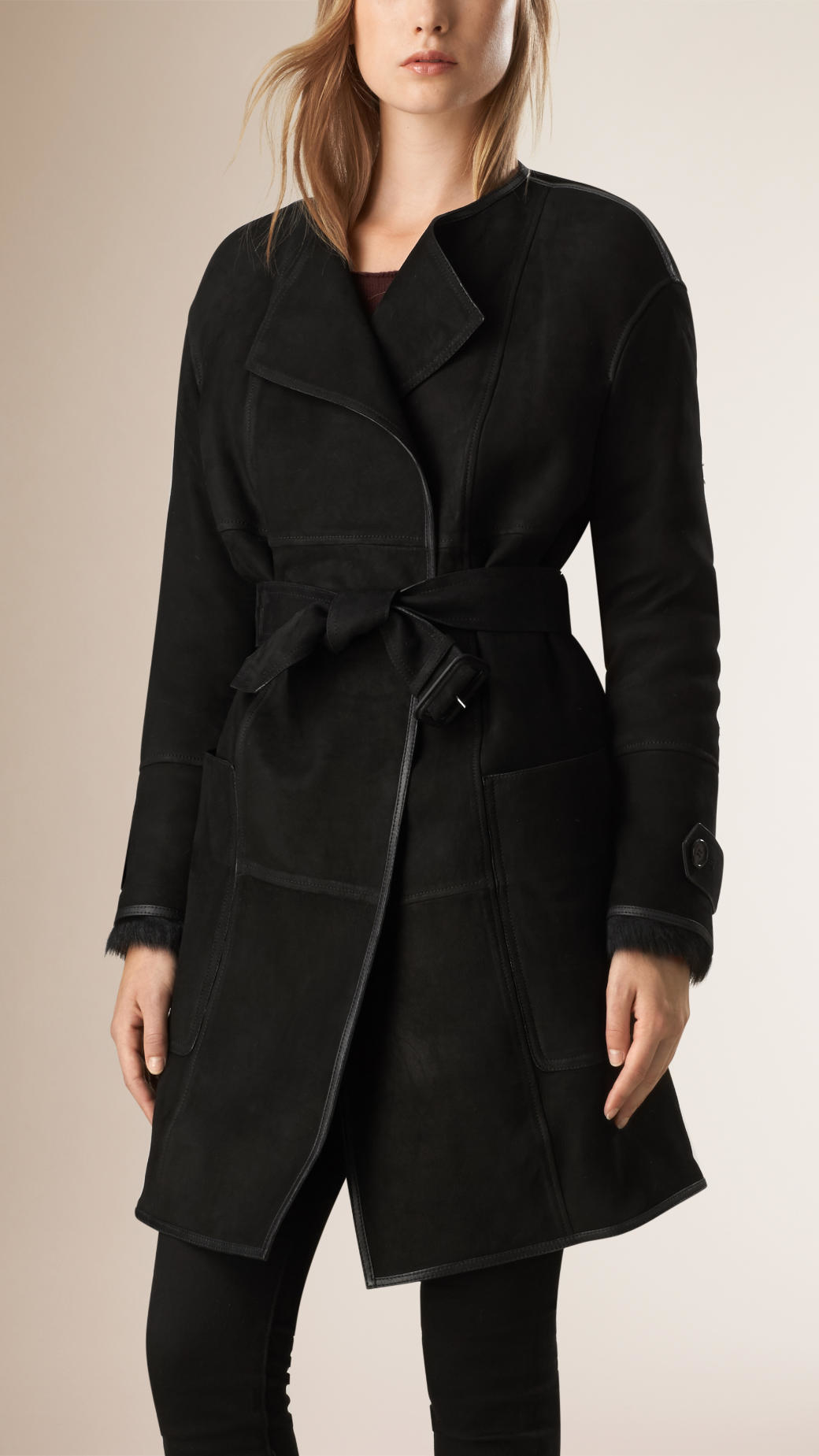 Burberry Shearling Wrap Coat in Black | Lyst