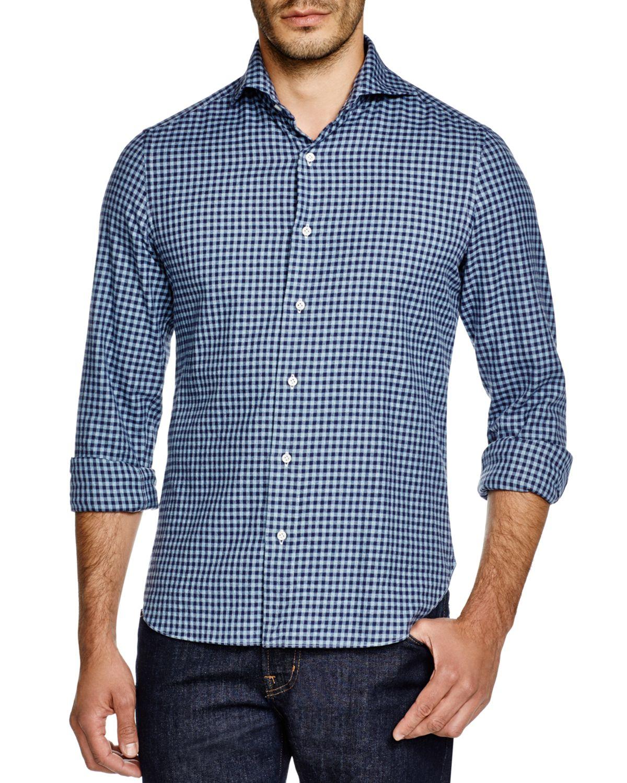 Eidos gingham flannel regular fit button down shirt in for Blue gingham button down shirt