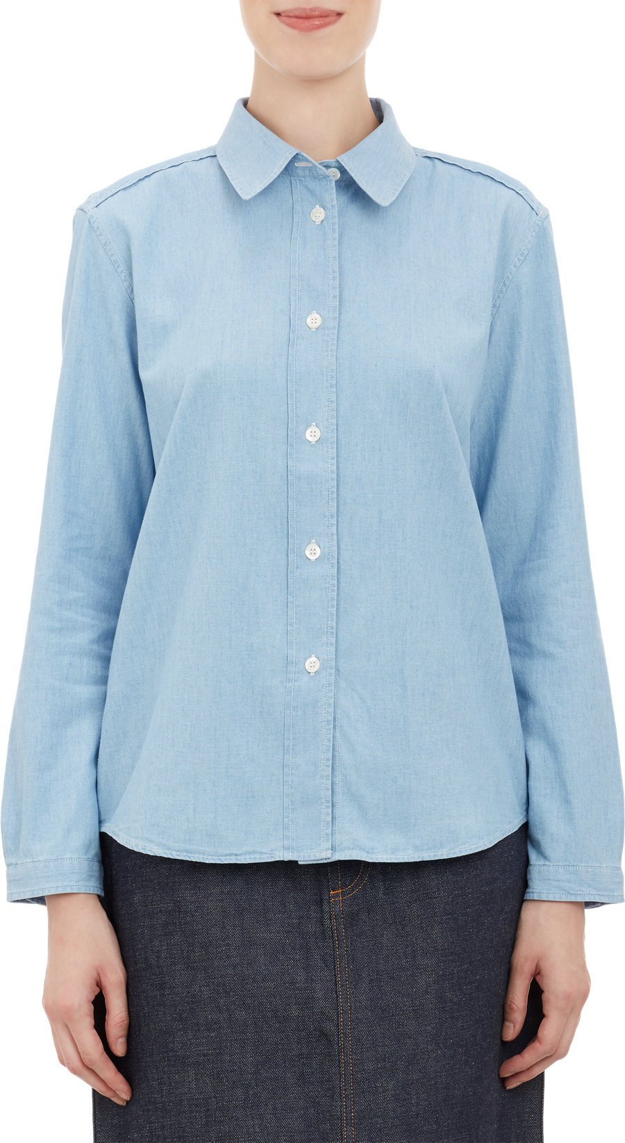 Lyst a p c chambray shirt in blue for Blue chambray shirt women s