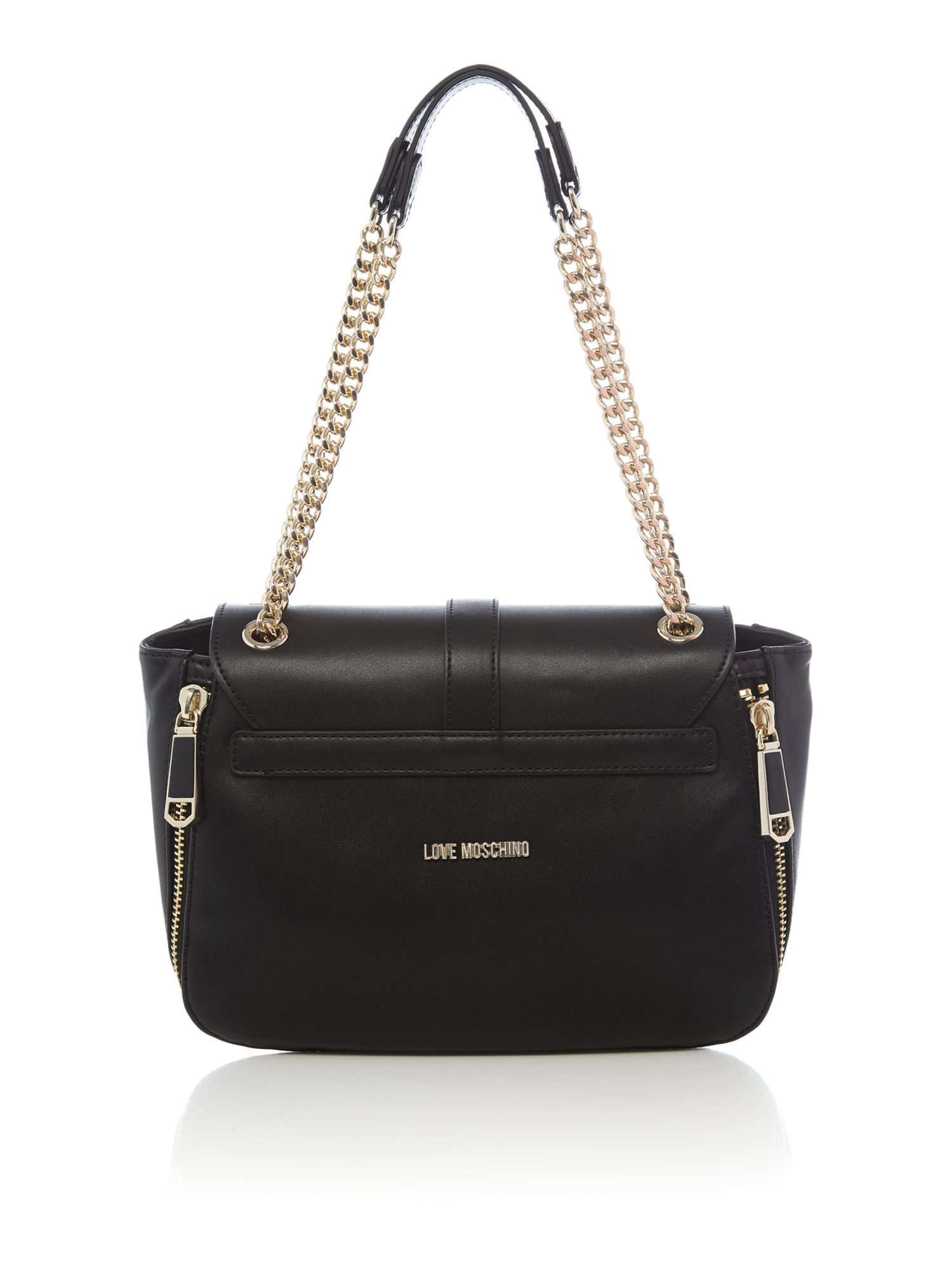 Love moschino Metal Heart Black Shoulder Bag in Black | Lyst