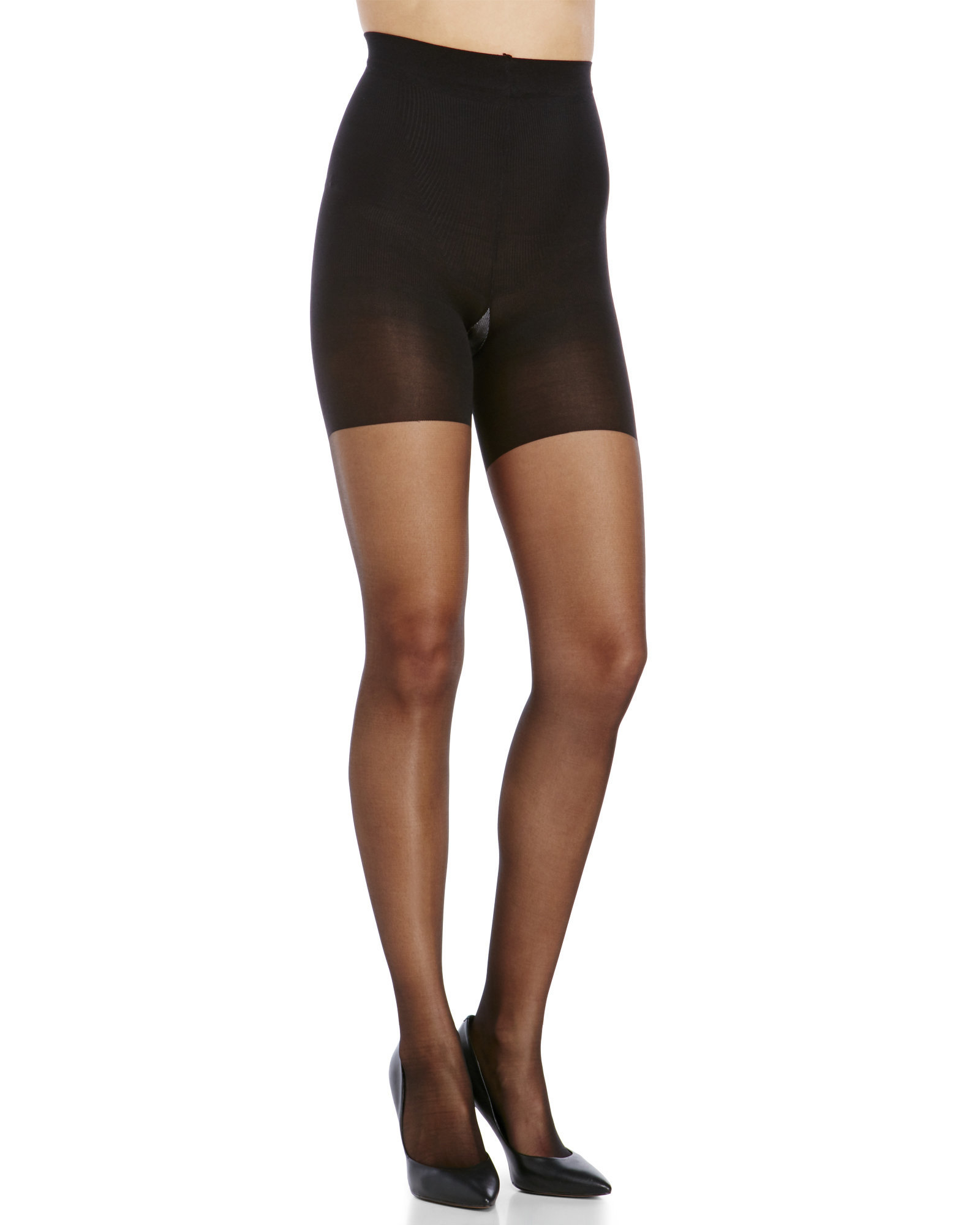 1682748697b Spanx Super Control Top Sheer Tights in Black - Lyst