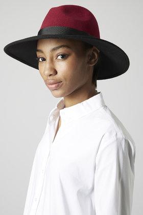 Topshop Wide Brim Fedora Hat in Red - Lyst 890be19a0de