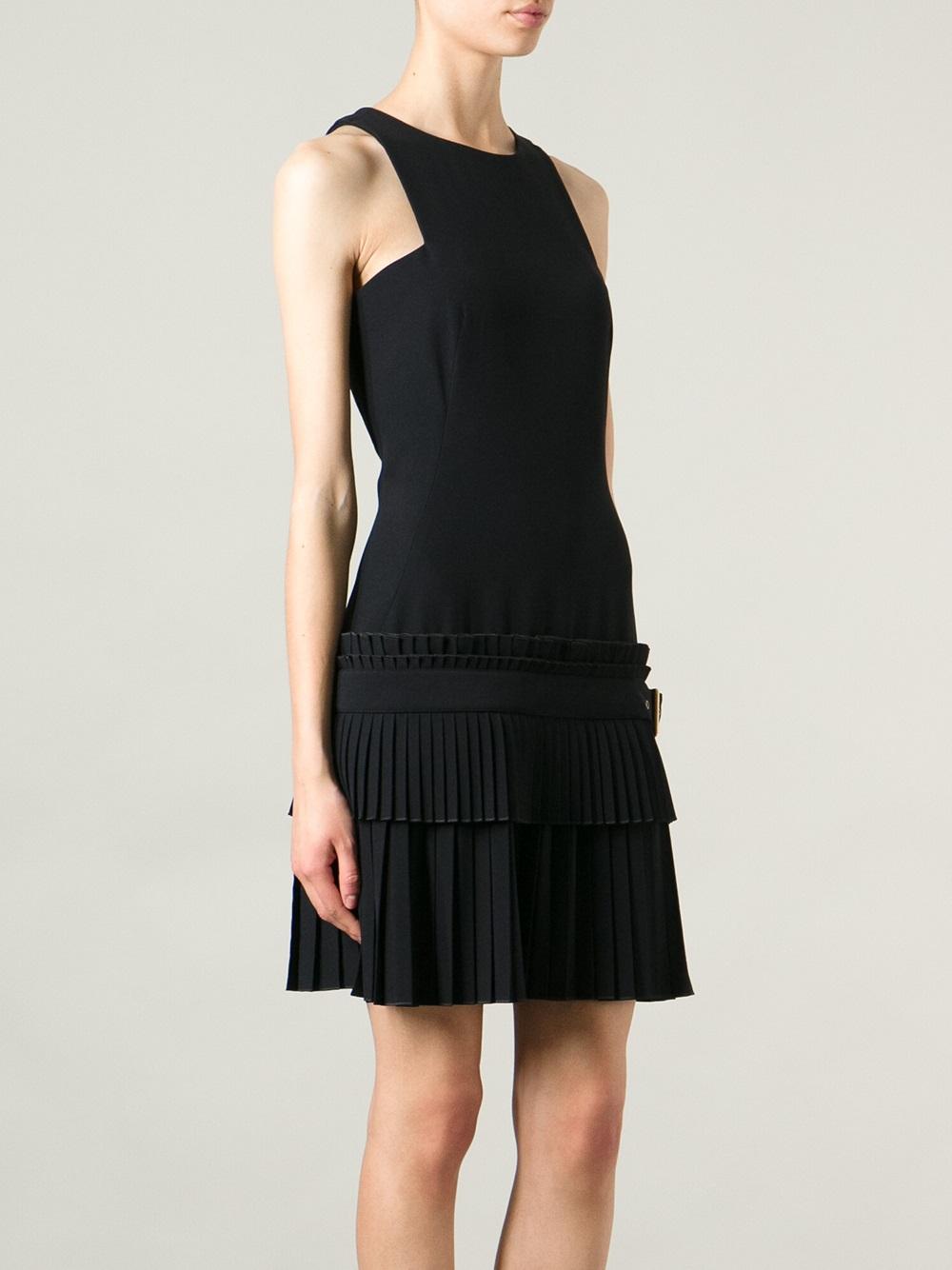 mcqueen pleated skirt dress in black lyst