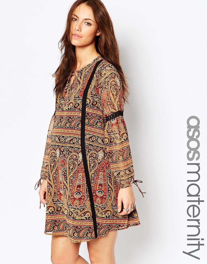 Lyst asos maternity boho swing dress with lace inserts gallery ombrellifo Choice Image