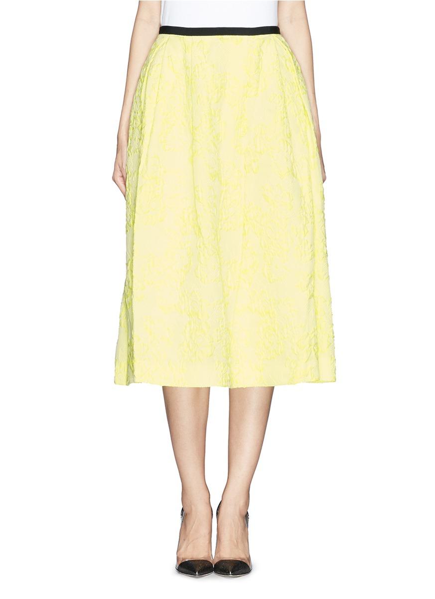 erdem imari floral cloqu 233 jacquard midi skirt in yellow