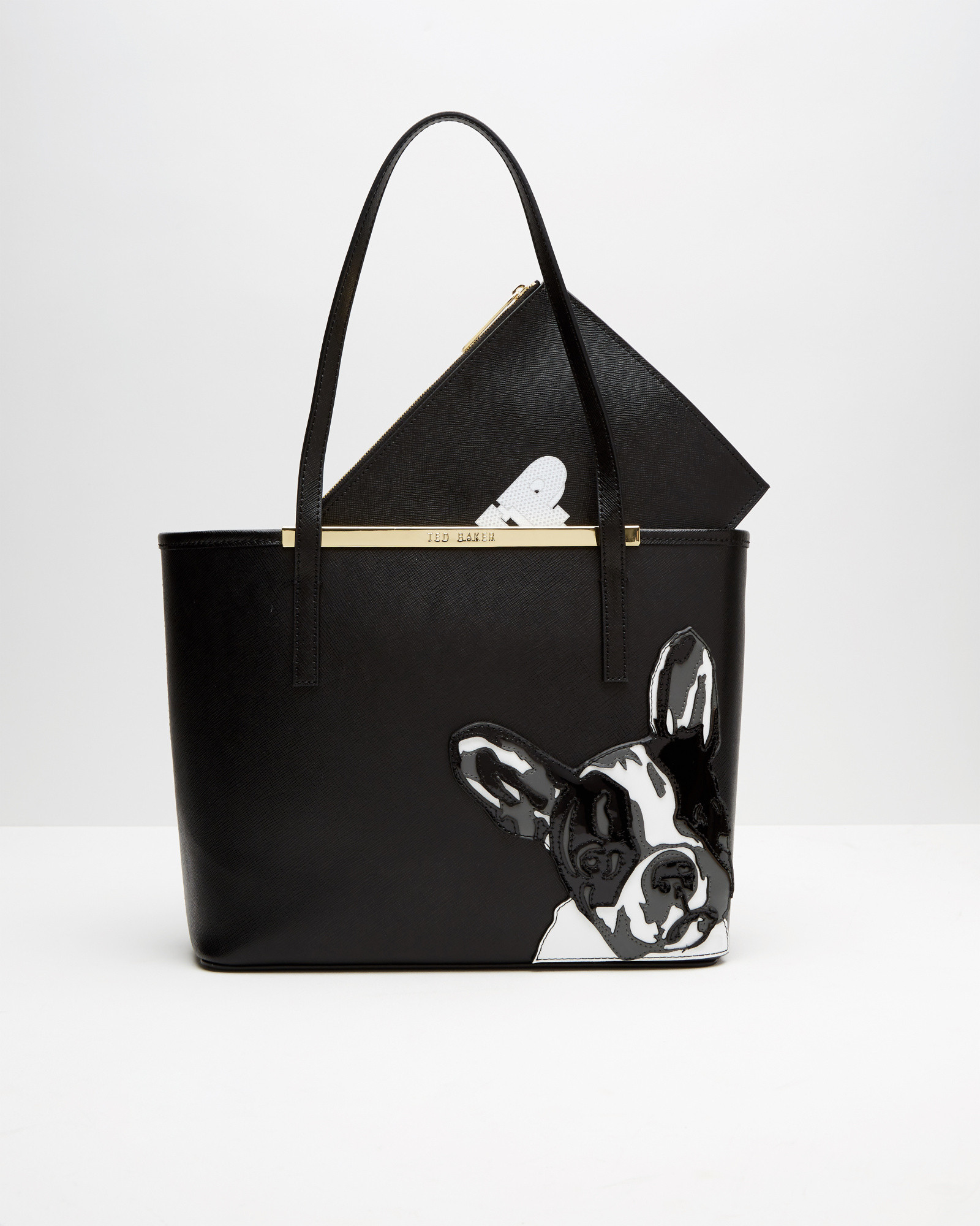 french bulldog purse ted baker french bulldog leather tote in black lyst 5360