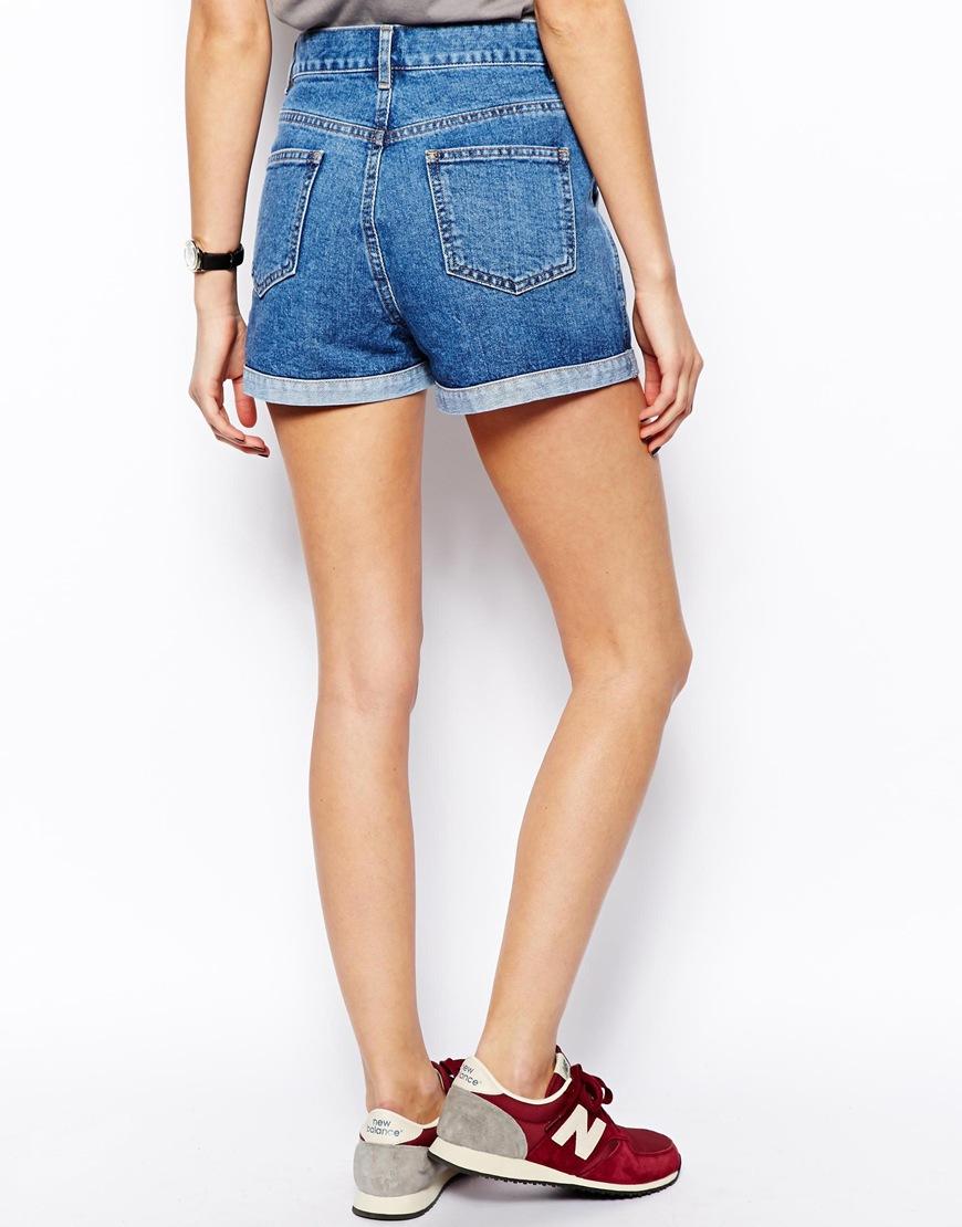 Asos Denim Mom Shorts with Western Styling in Blue | Lyst
