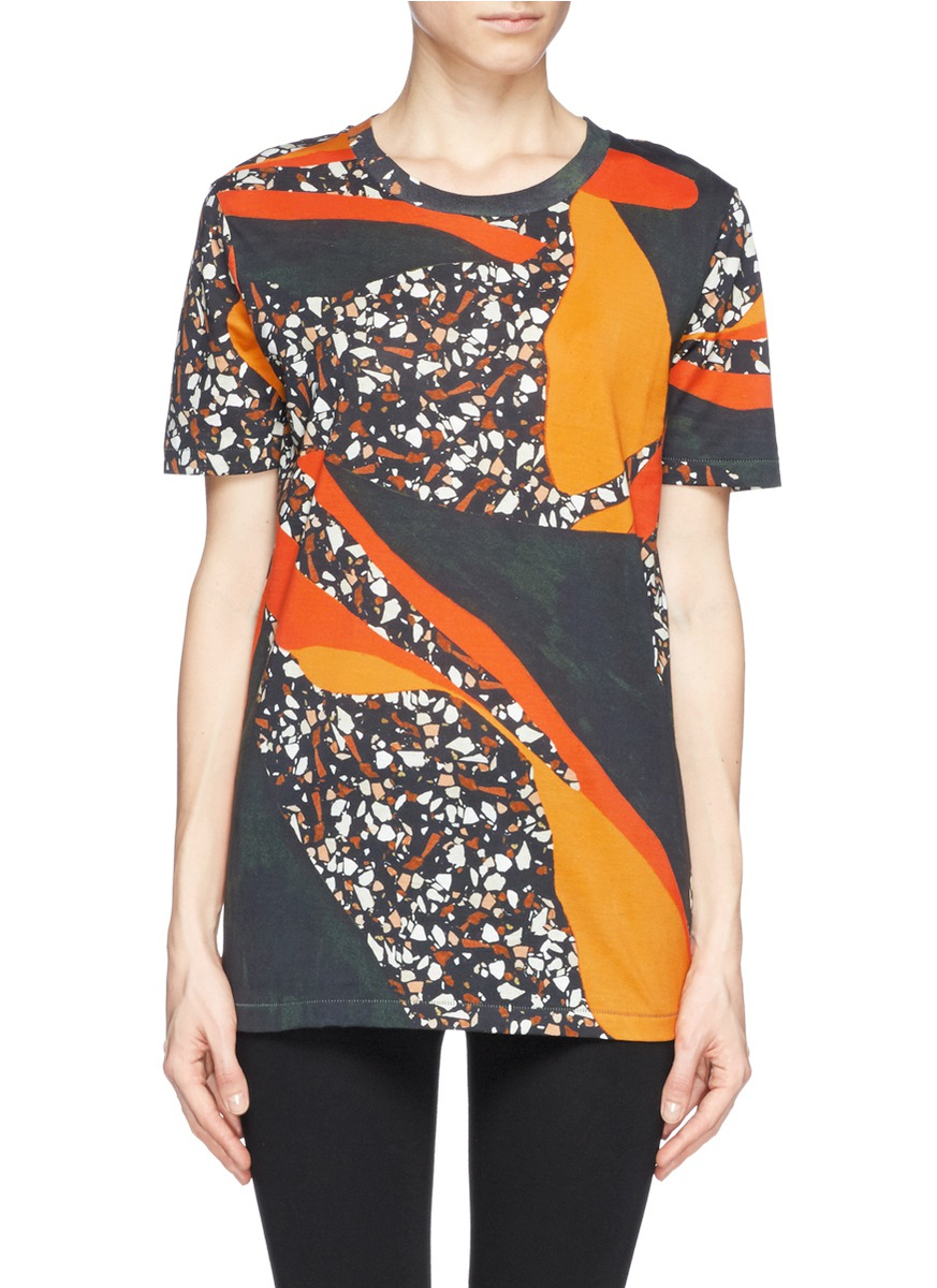 Acne studios 39 vista 39 terrazzo print oversize t shirt in for Vista t shirt printing