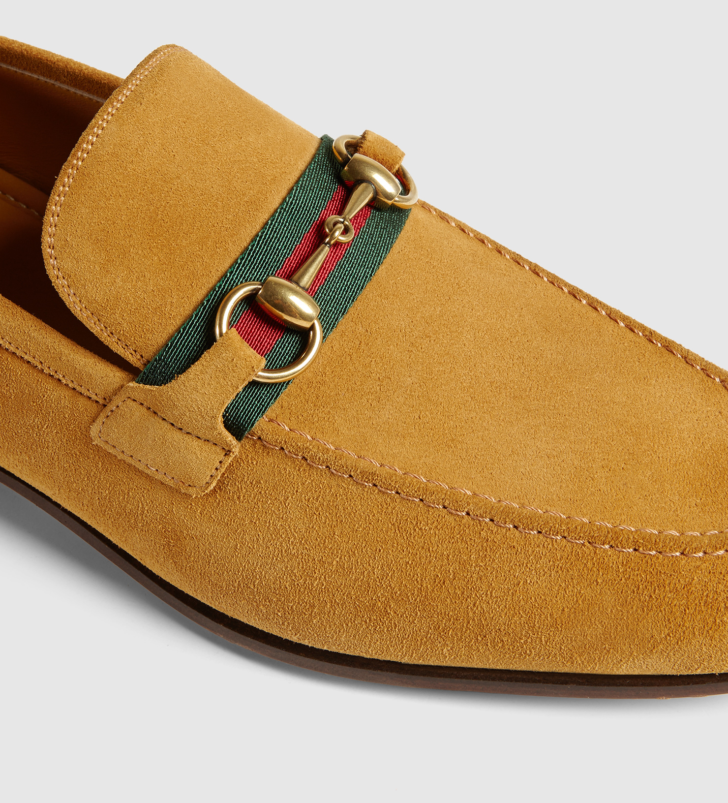 a63645dcd0d Lyst - Gucci Suede Horsebit Loafer With Web in Yellow for Men