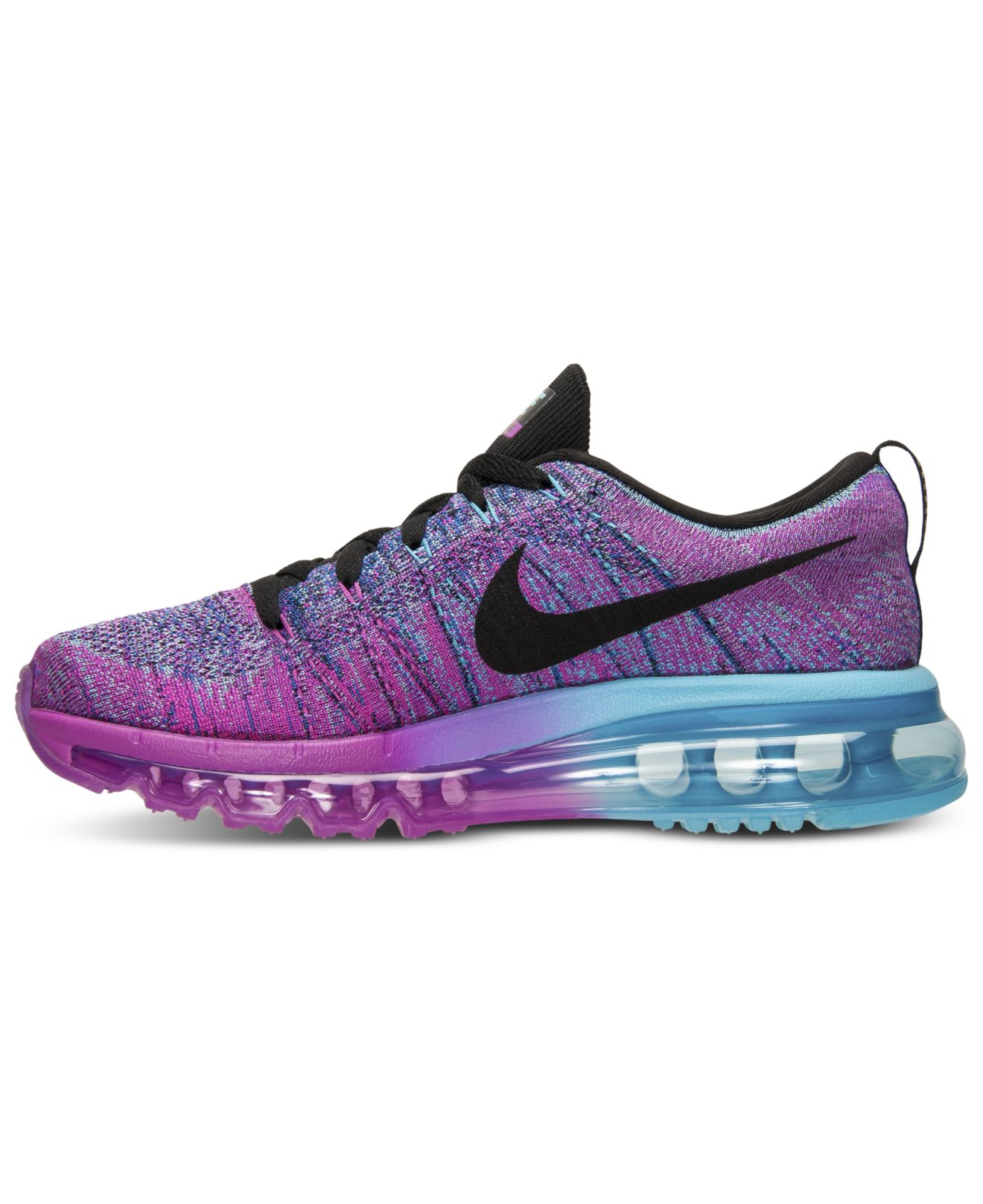 Nike Women'S Flyknit Air Max Running Sneakers From Finish Line in Blue (FUCHSIA FLASH/BLACK ...