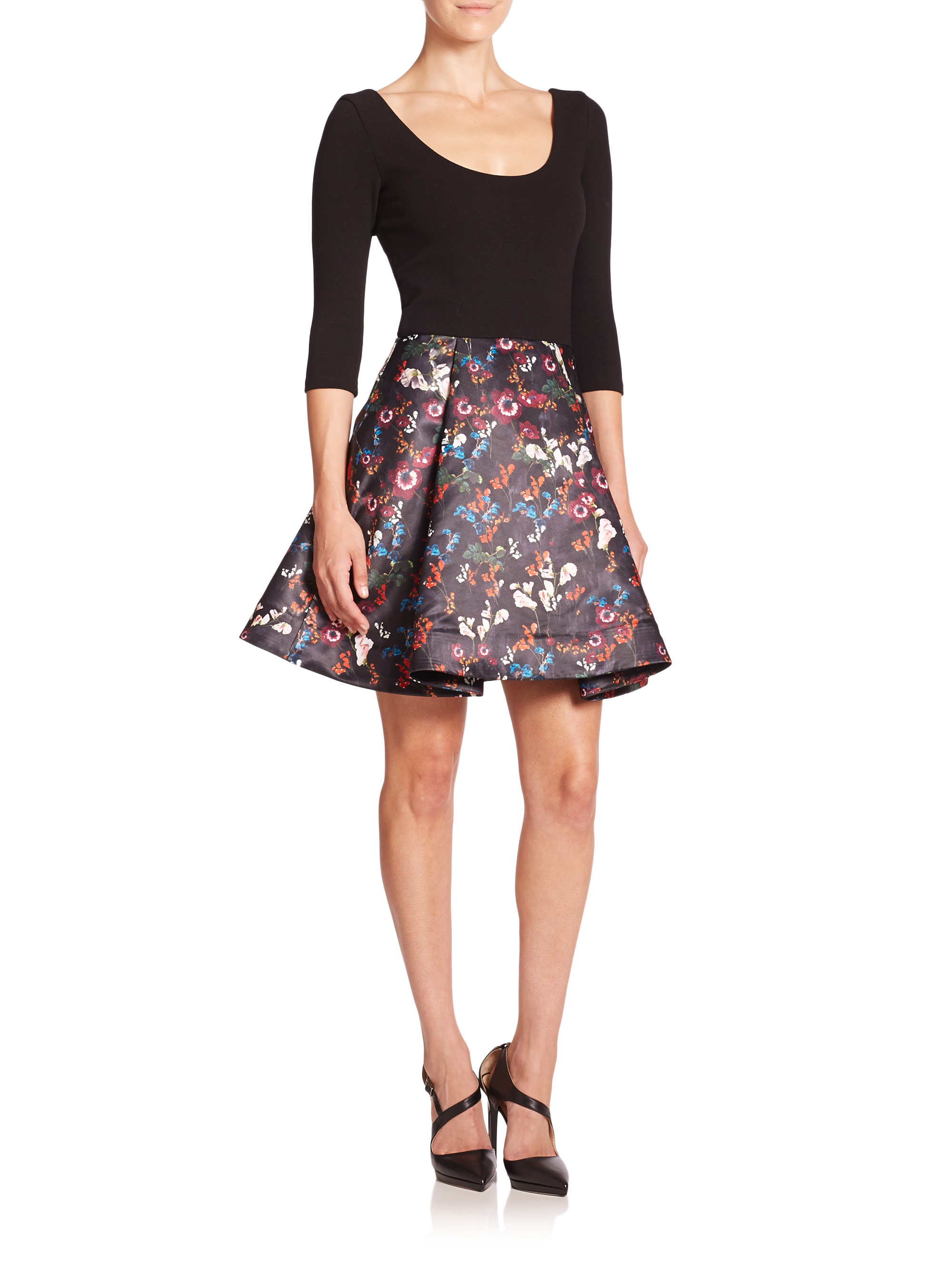 alice olivia amie knittop floral dress in black lyst