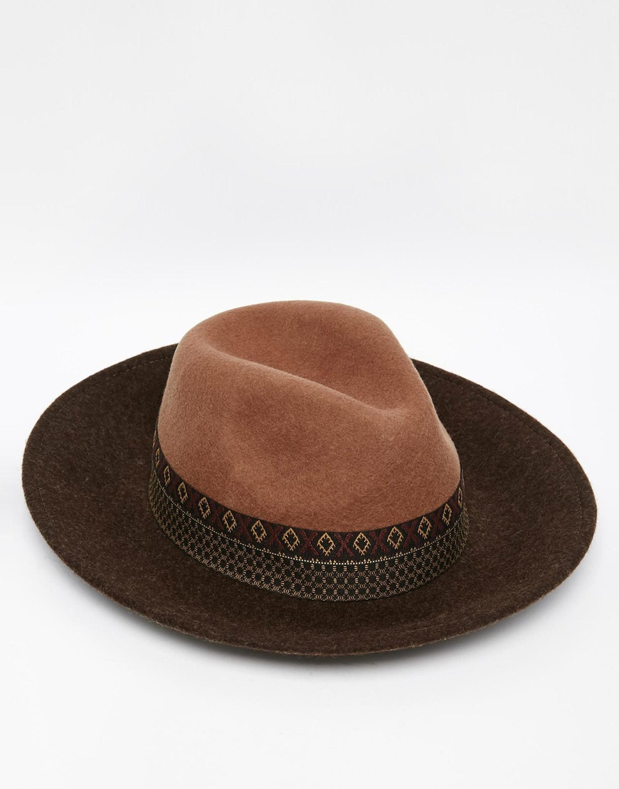 d1a62f4969e1d ASOS Wide Brim Fedora Hat In Camel Felt With Aztec Print Band in ...