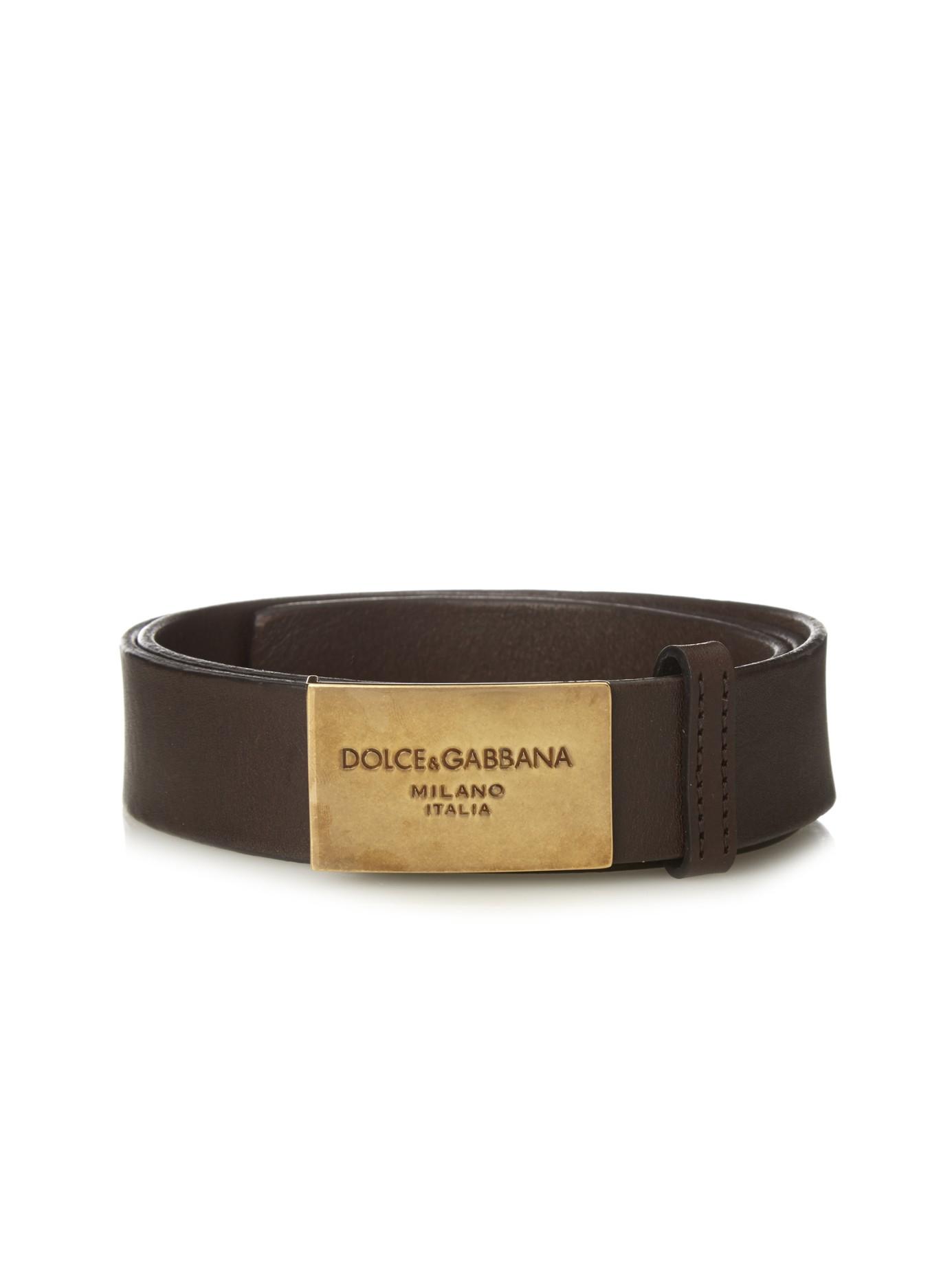 1878d0037a ... shop dolce gabbana logo buckle leather belt in brown for men lyst 8e61a  8d31d