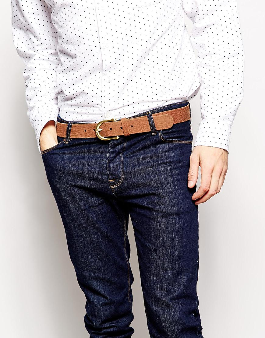 Lyst Asos Leather Jeans Belt With Gold Buckle In Brown