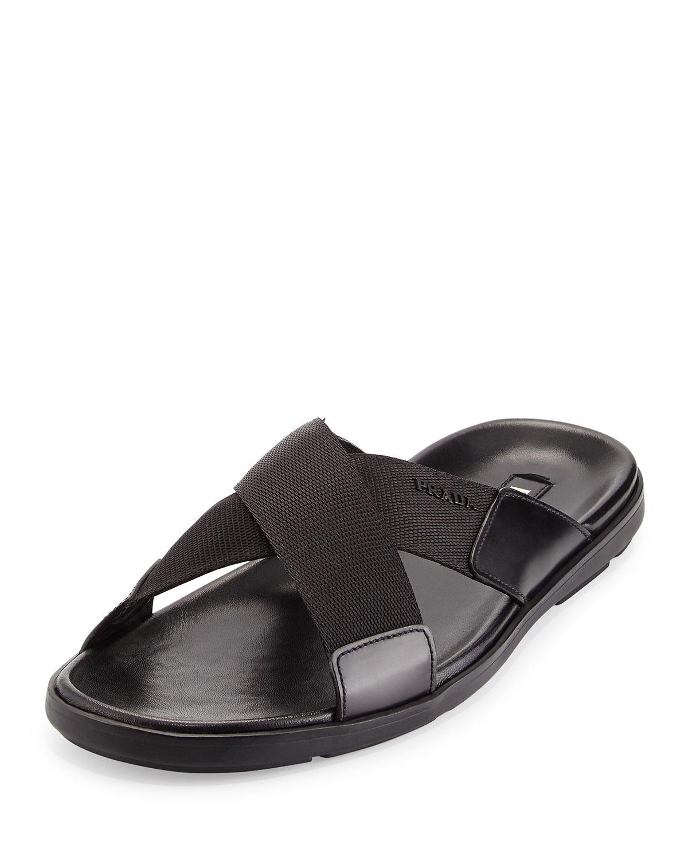 54f74d5950c678 Lyst - Prada Crisscross Nylon Sandal in Black for Men