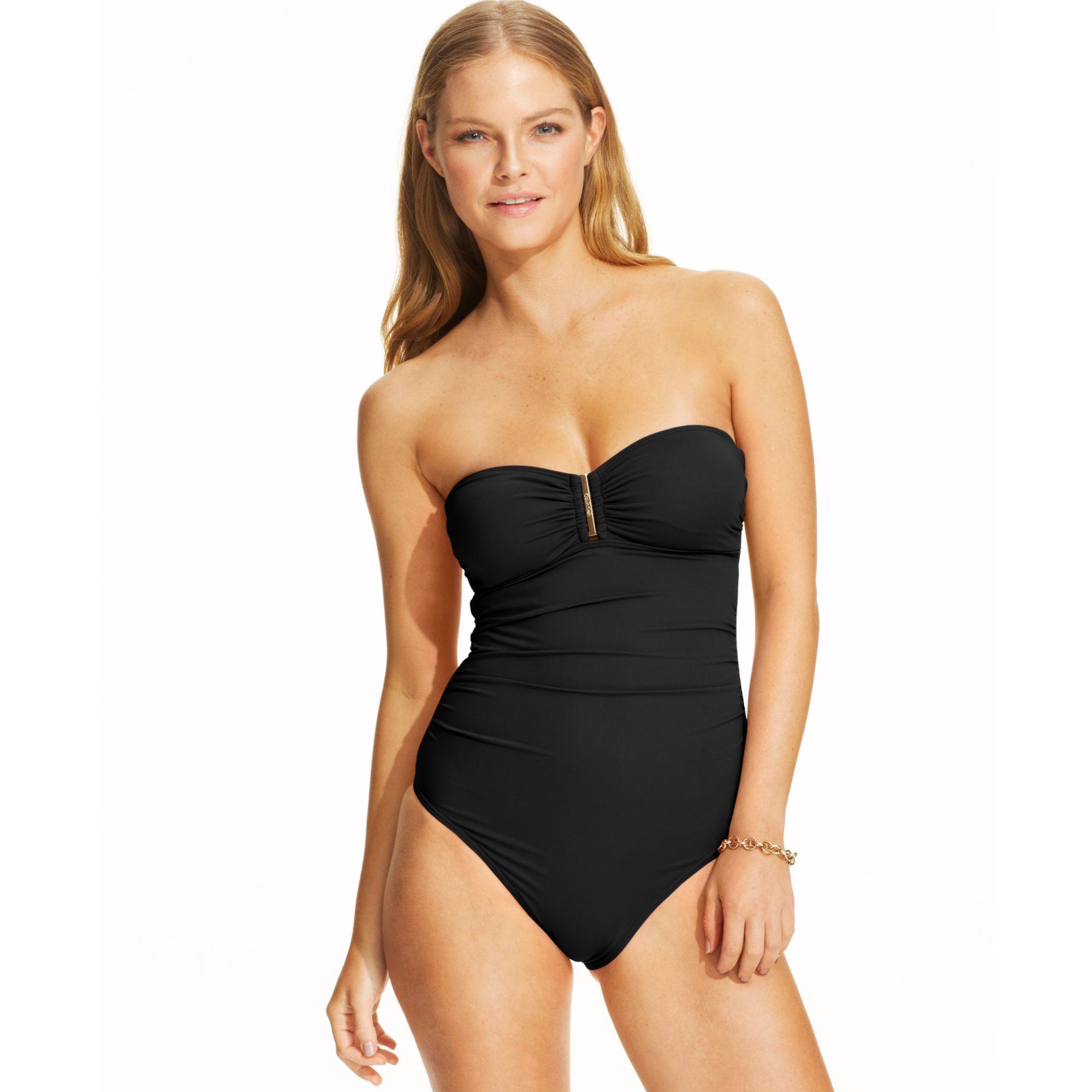 Calvin Klein Strapless Bandeau Onepiece Swimsuit in Black ...