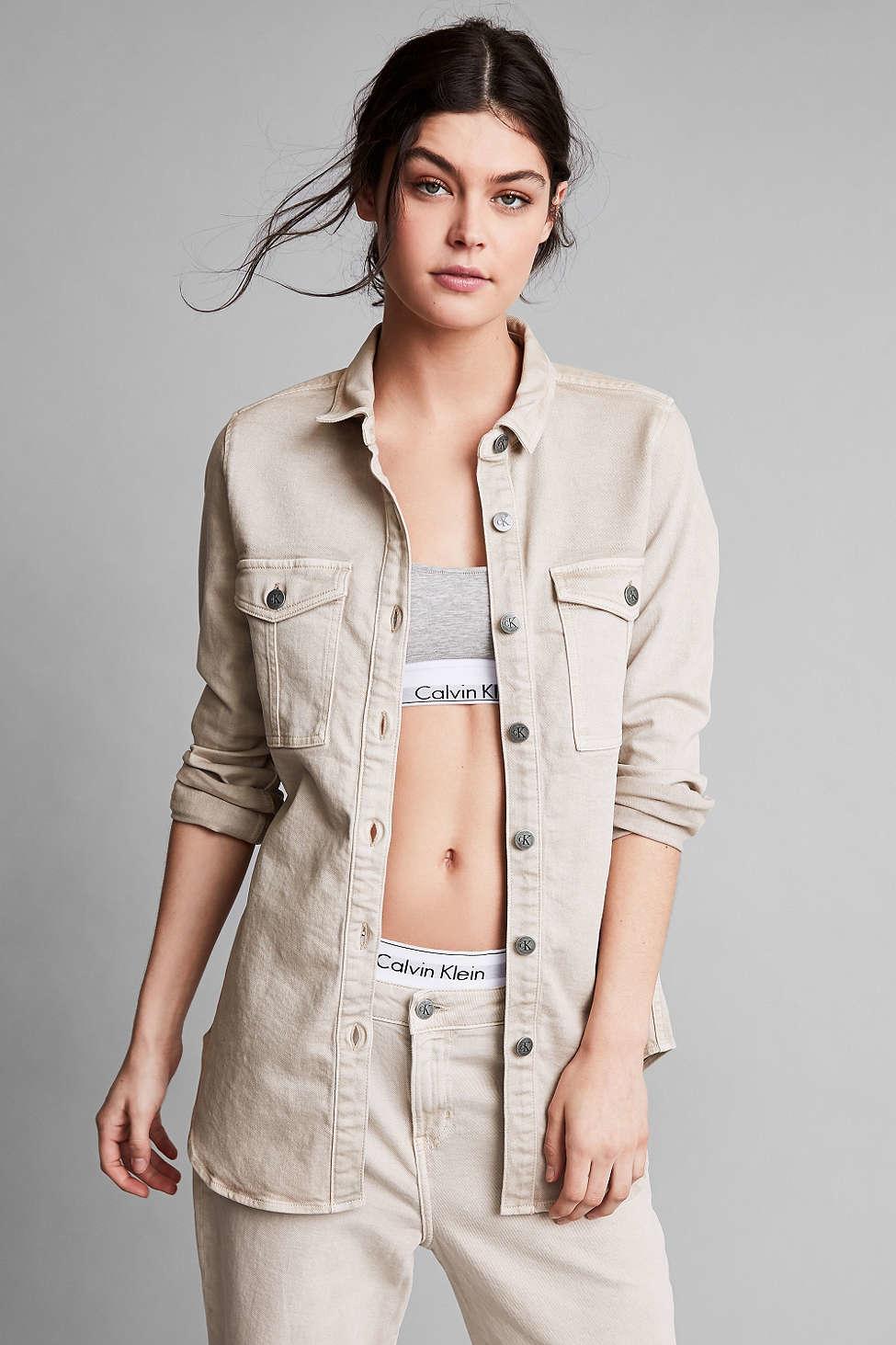 409a9cbe374 Lyst - Calvin Klein For Uo Khaki Button-down Utility Shirt in Natural