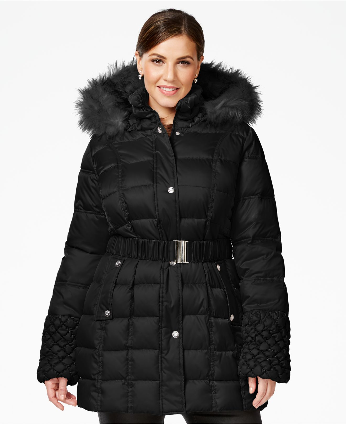 Betsey johnson Plus Faux-fur-trim Quilted Belted Puffer Coat in ...
