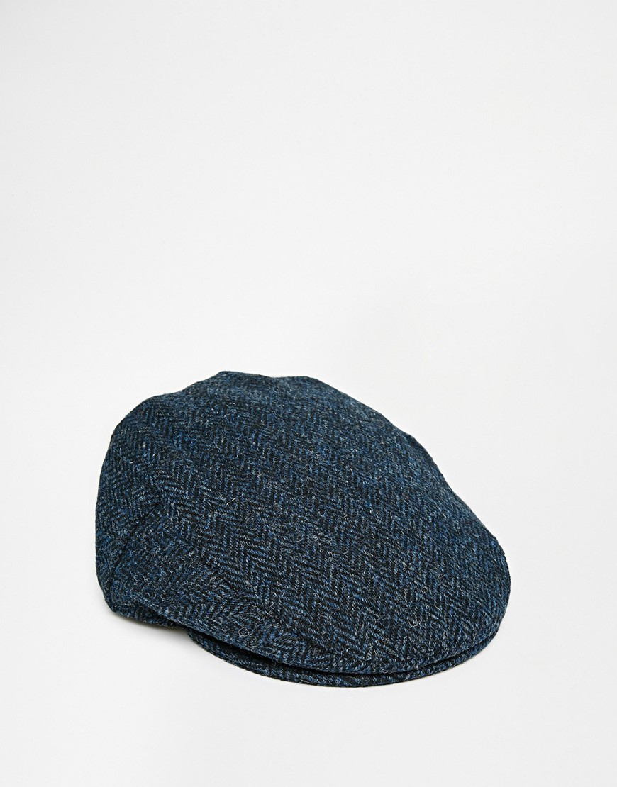 Asos Flat Cap In Blue Harris Tweed In Blue For Men Lyst