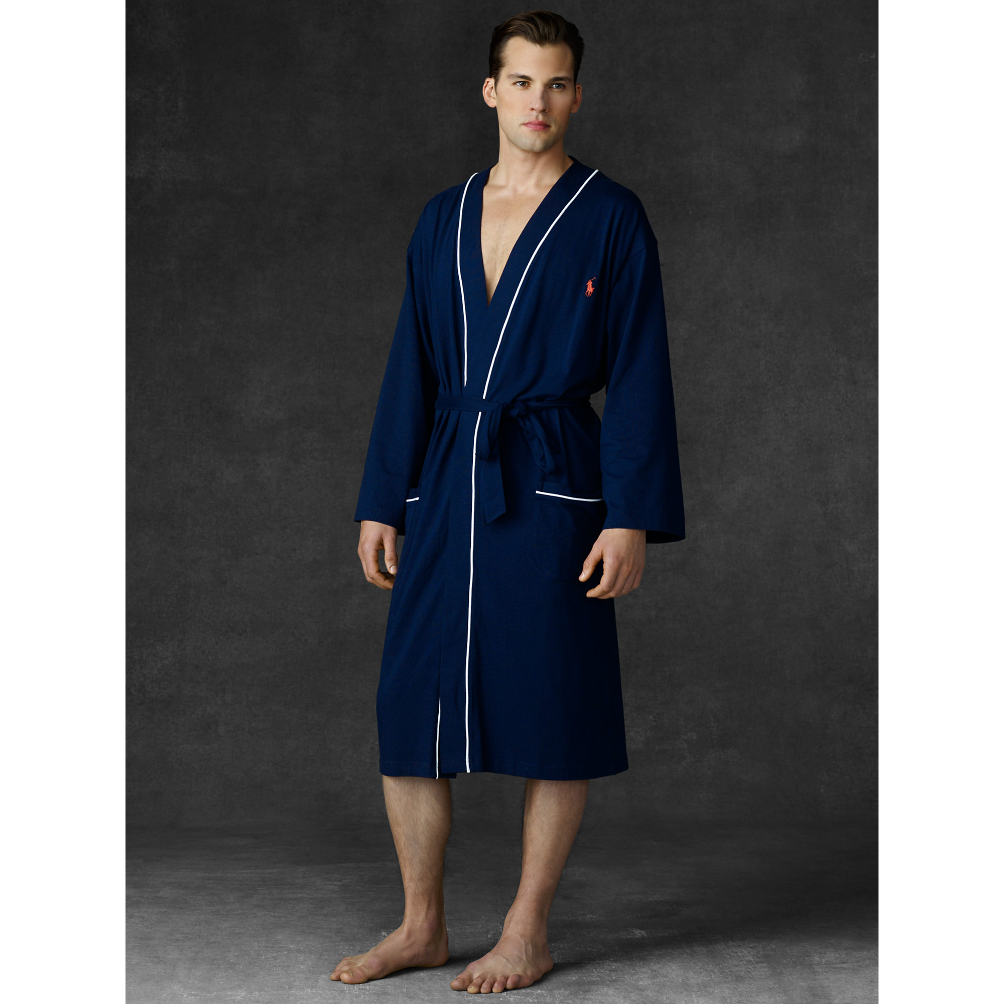 cb98268755a ... top quality lyst polo ralph lauren kimono robe in blue for men 8ebe4  3bb20