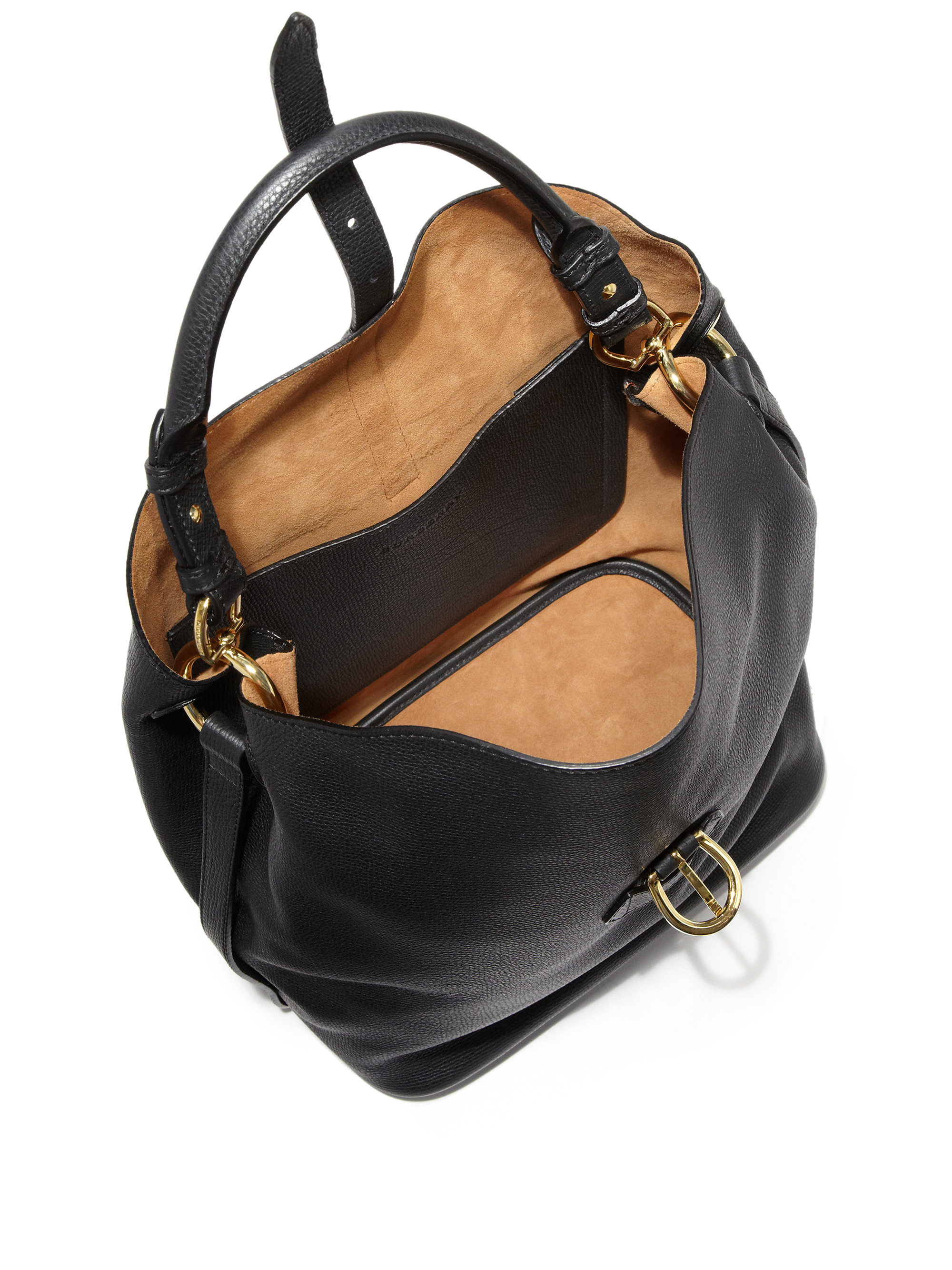 2099f2d90 Burberry Sycamore Medium Leather Hobo Bag in Black - Lyst