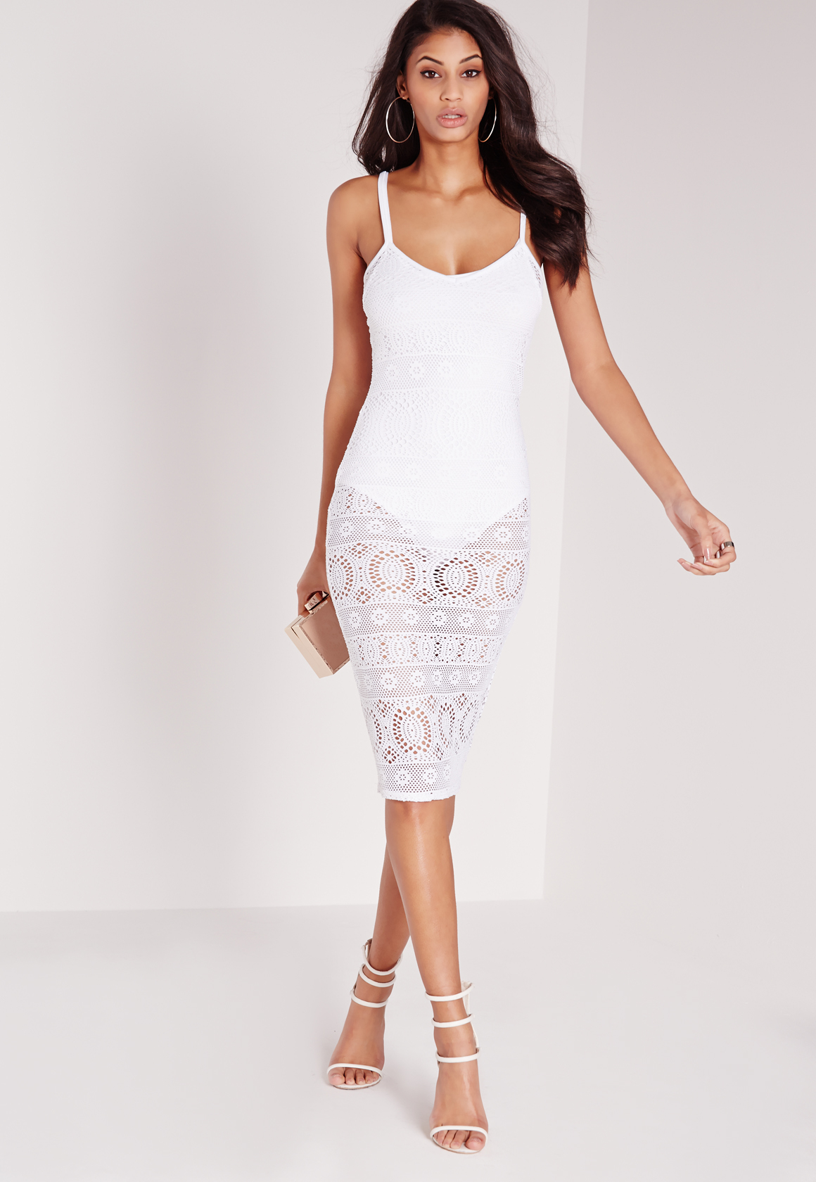 85f49daa3a345 Lyst - Missguided Sheer Lace Cami Midi Dress White in White