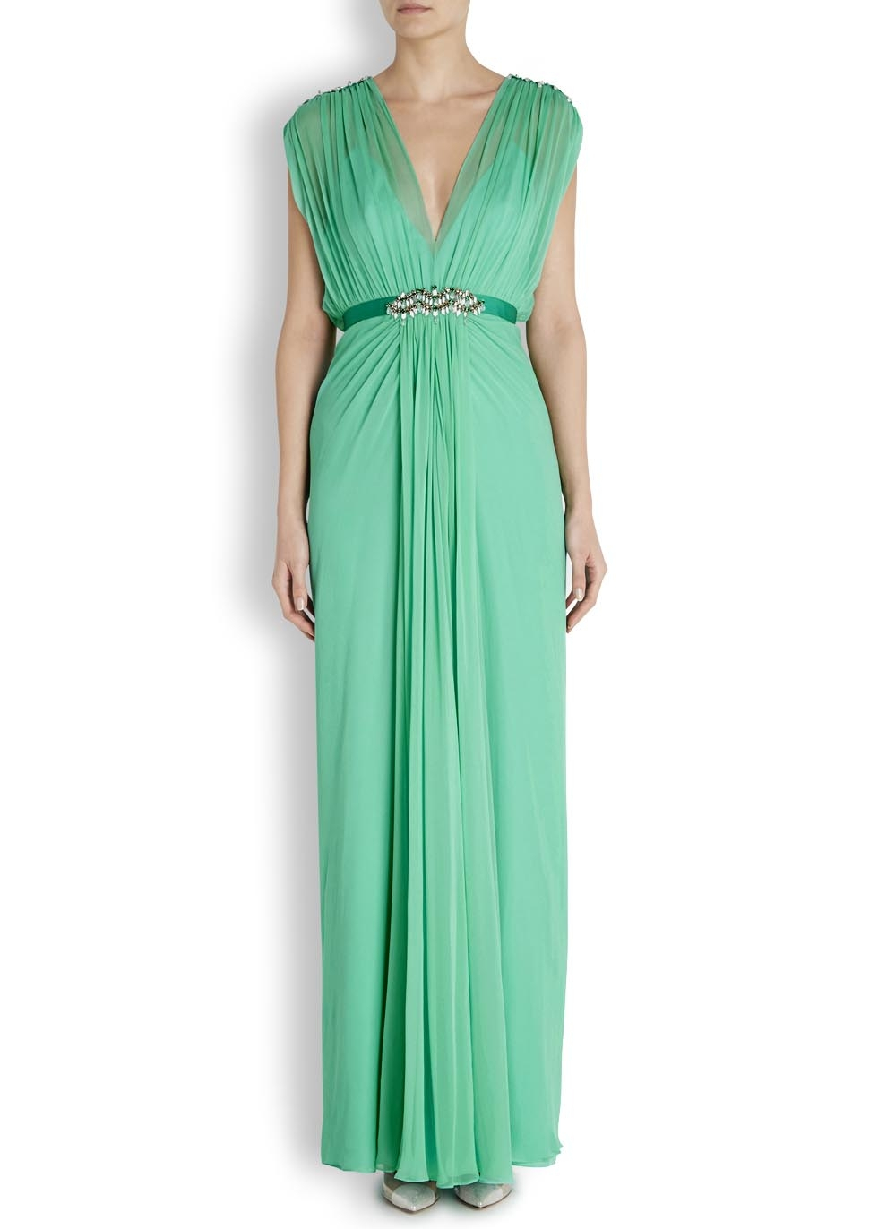 Jenny Packham Mint Green Embellished Silk Gown in Green - Lyst