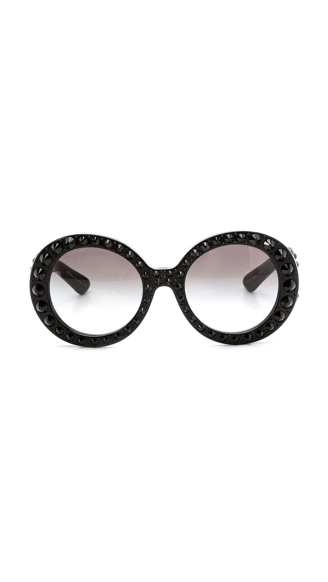 75b150f29e0 ... ireland lyst prada studded round sunglasses black black in black 3b820  b5dd7 greece dual studded cats eye ...