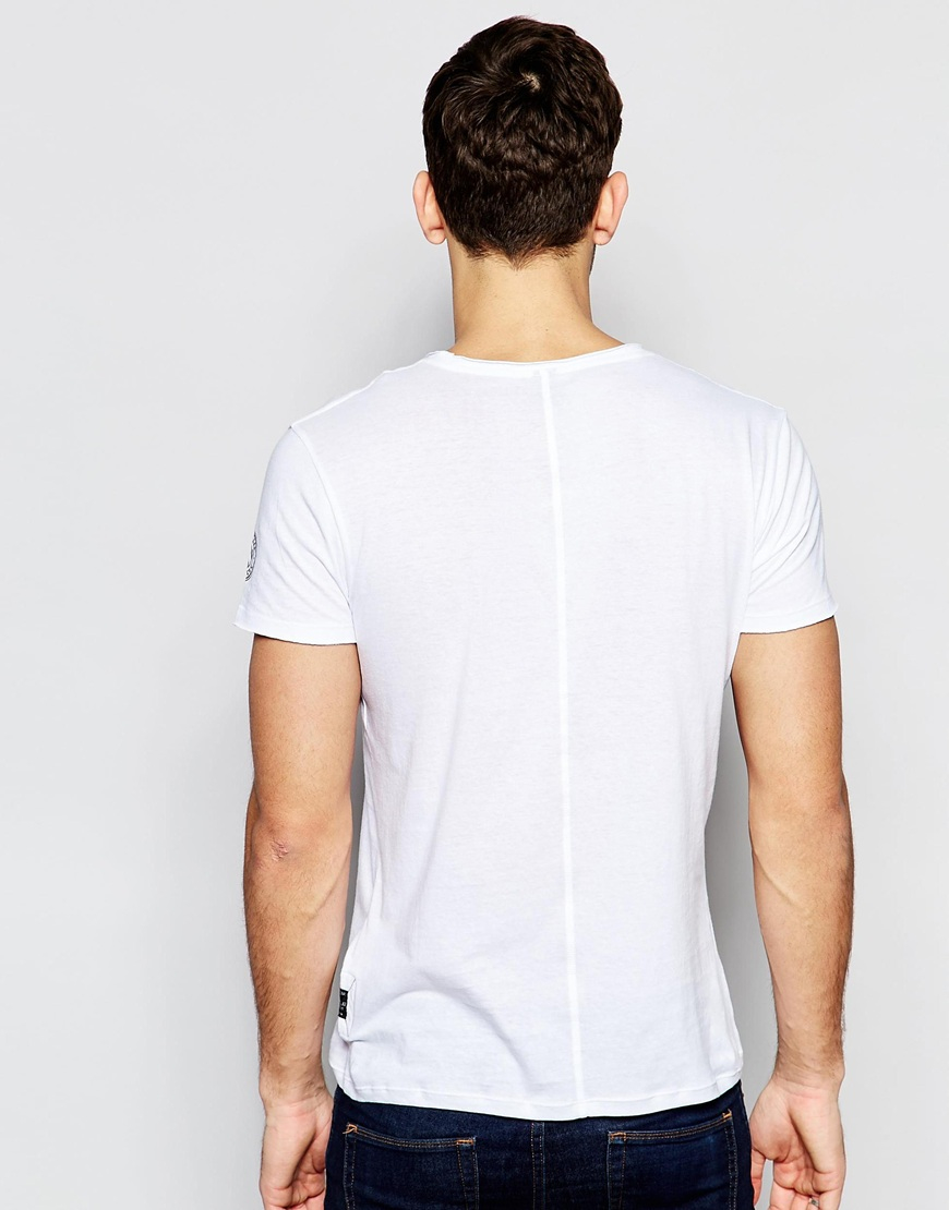 Replay T Shirt Wide Neck Laser Cut In White In White For