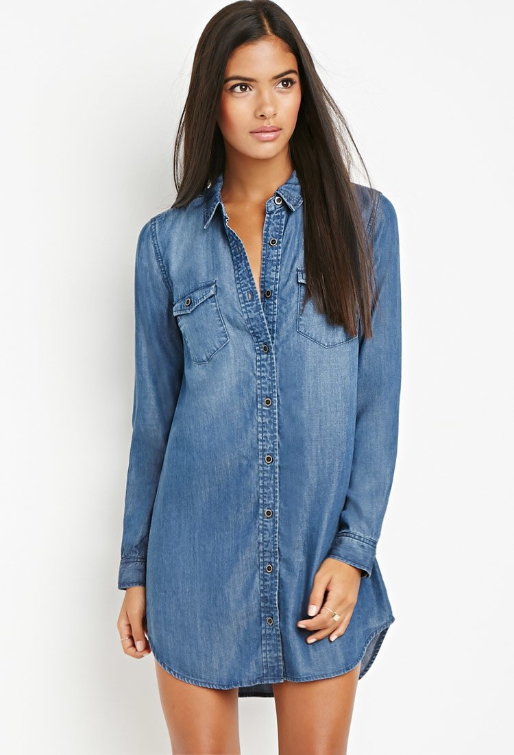 Forever 21 Contemporary Shirt Dress In Blue Lyst