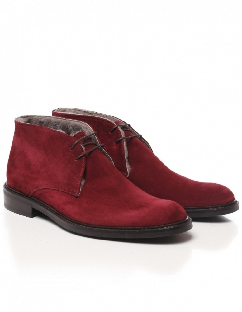 Jules b Mens Suede Shearling Lined Chukka Boots in Red for Men | Lyst