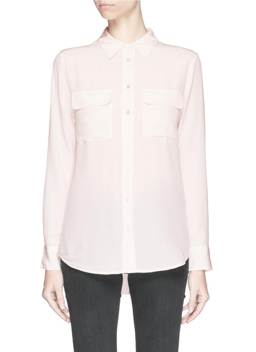 Equipment 39 slim signature 39 silk shirt in pink lyst for Equipment signature silk shirt