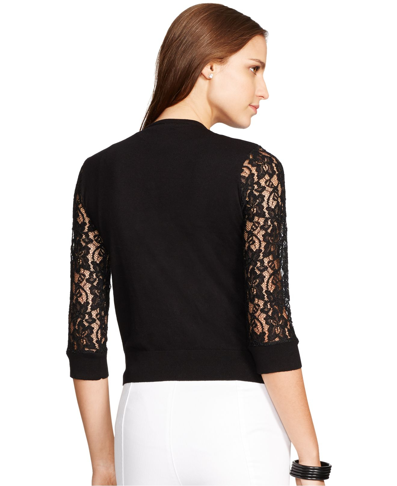 Lauren by ralph lauren Lace-Sleeve Cardigan in Black | Lyst