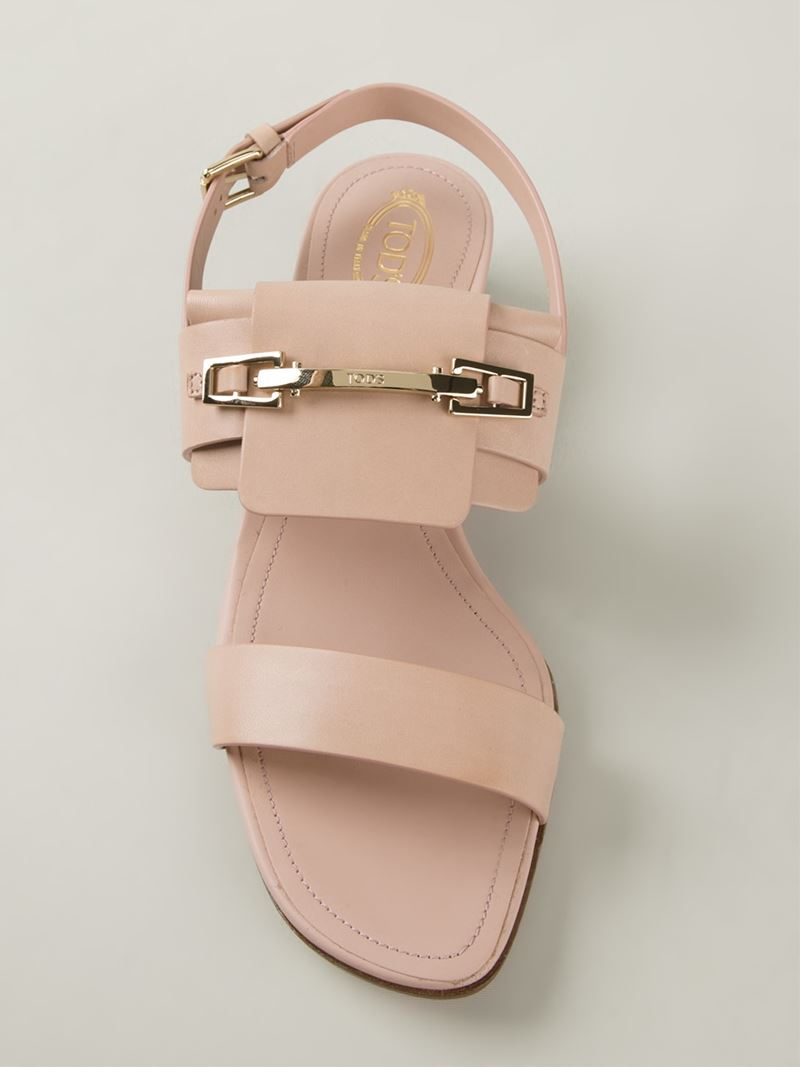 Lyst Tod S Chunky Heel Sandals In Pink