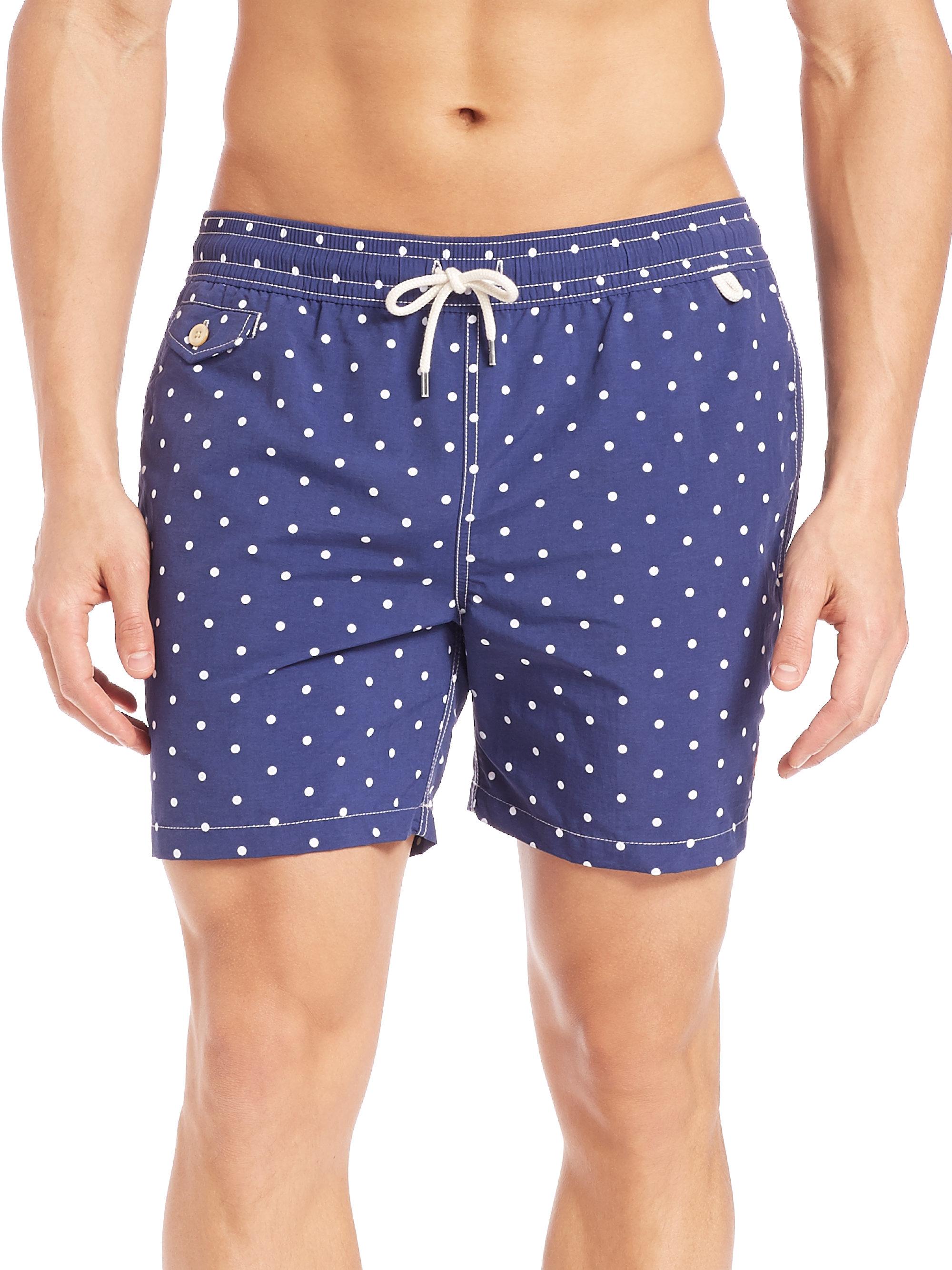 7bae2c21a0 Polo Ralph Lauren Polka-dot Traveler Swim Shorts in Blue for Men - Lyst