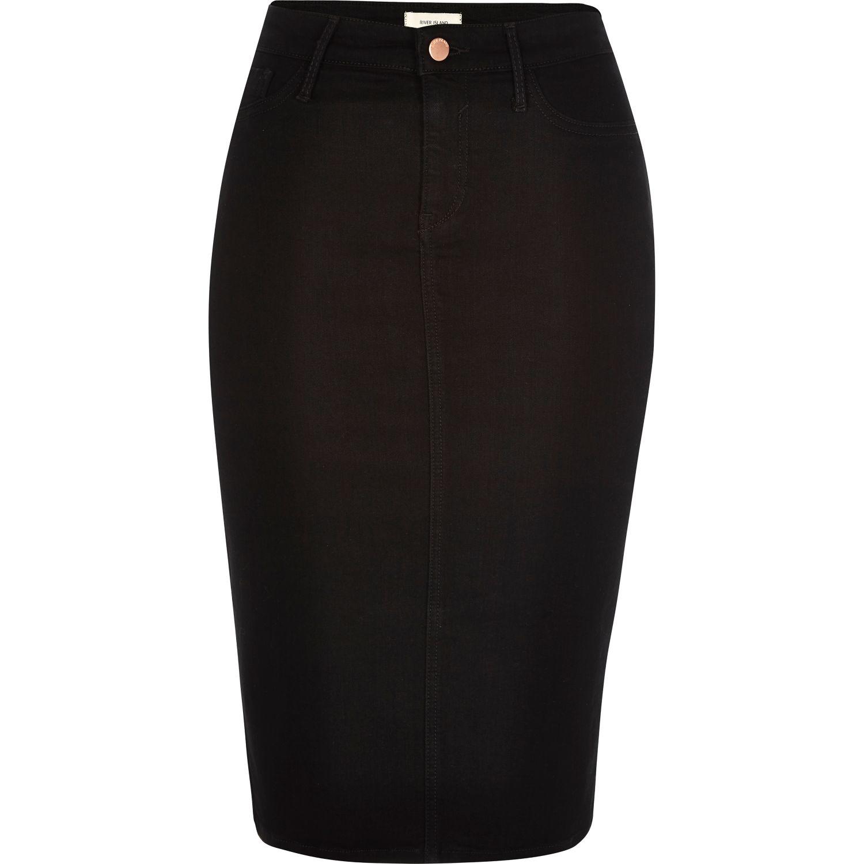 River island Black Denim Pencil Skirt in Black | Lyst
