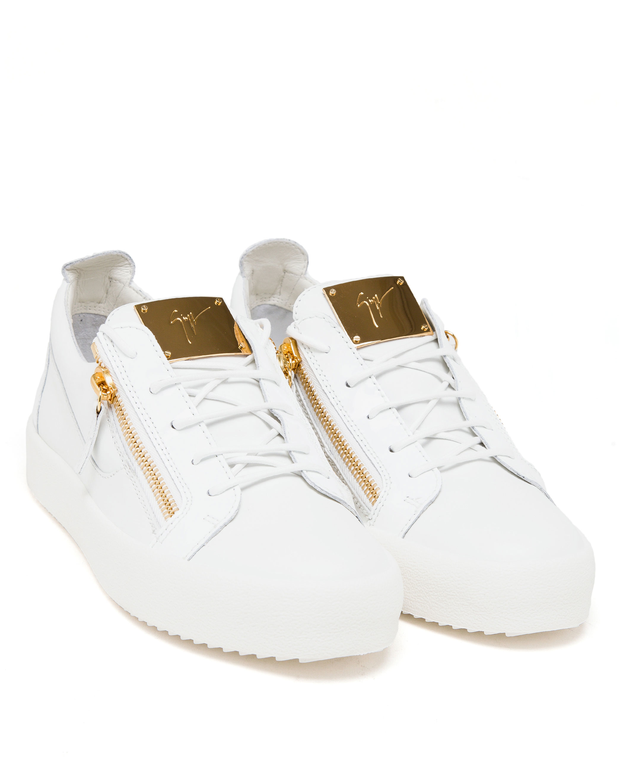 cb75a7c664767 Giuseppe Zanotti Leather And Gold Tone Low-top Trainers in White - Lyst