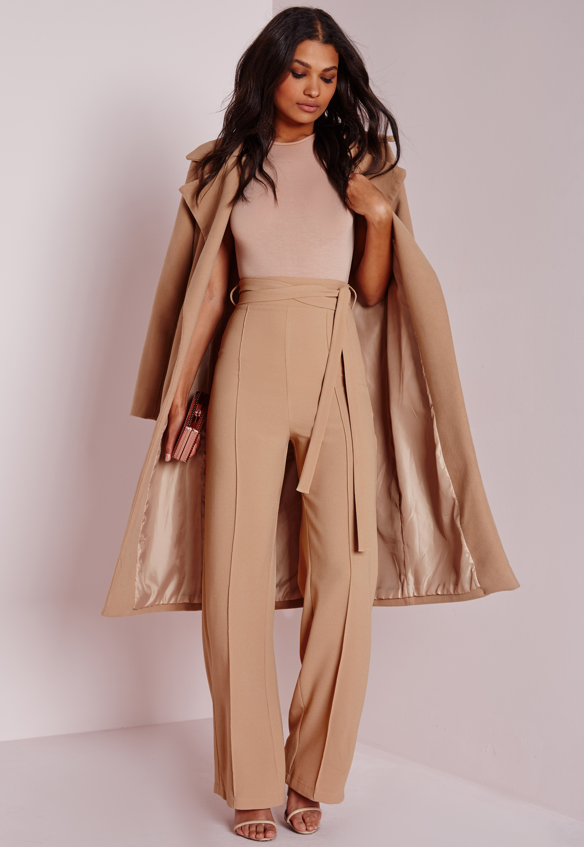 missguided petite tie waist crepe wide leg pants camel in natural lyst. Black Bedroom Furniture Sets. Home Design Ideas