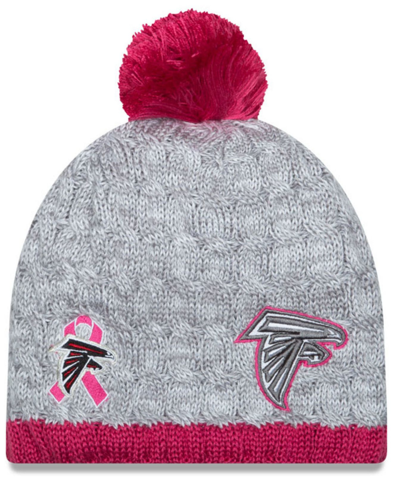 official photos f51f2 c55fe ... best price lyst ktz womens atlanta falcons breast cancer awareness knit  hat e8565 f8ff4