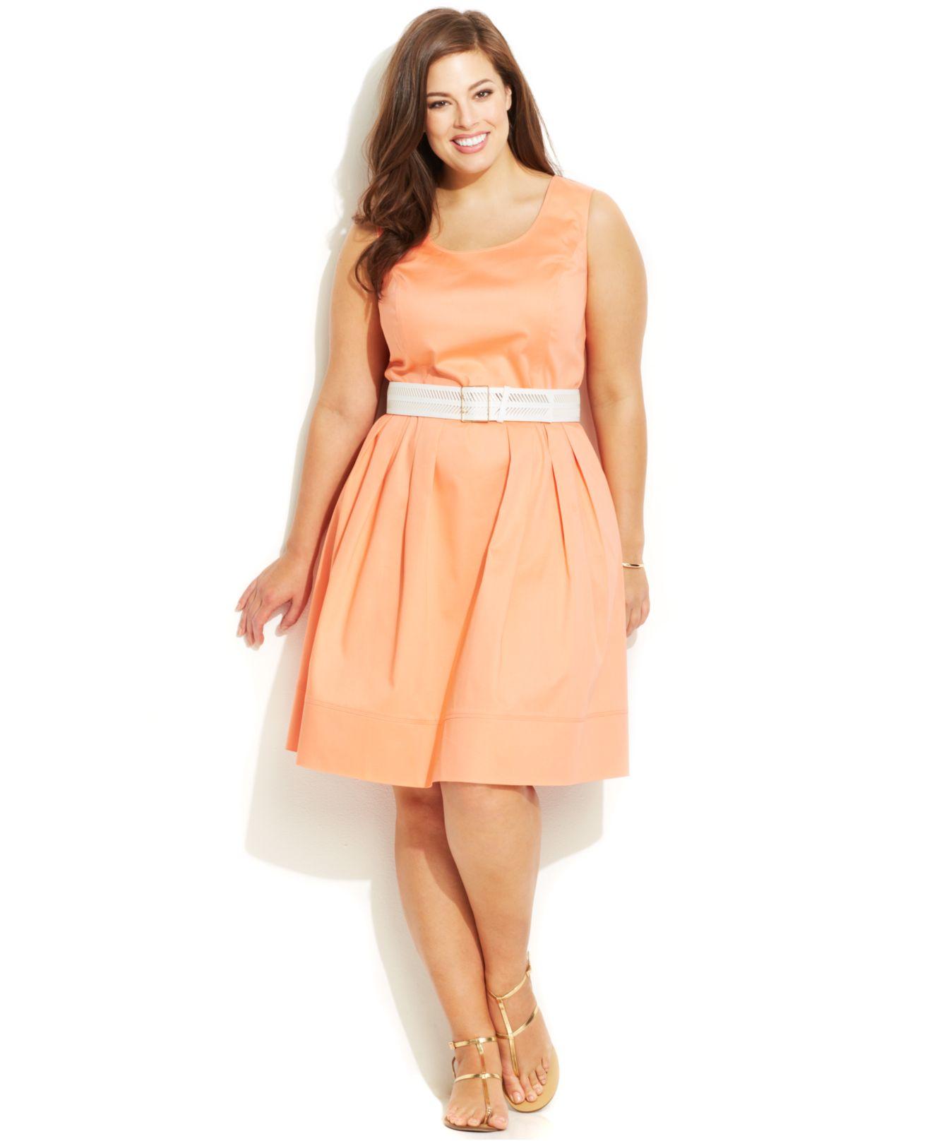 calvin klein plus size belted poplin flare dress in orange
